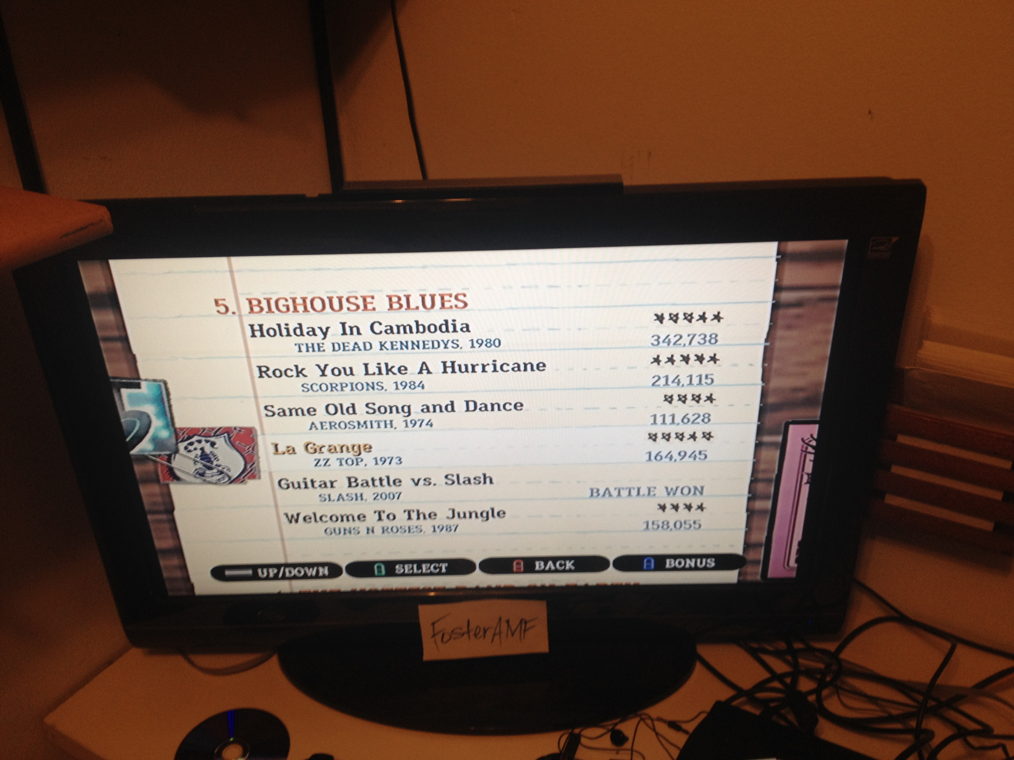 """FosterAMF: Guitar Hero III: Legends of Rock: """"Same Old Song and Dance"""" [Expert] (Wii) 111,628 points on 2015-04-19 00:45:52"""