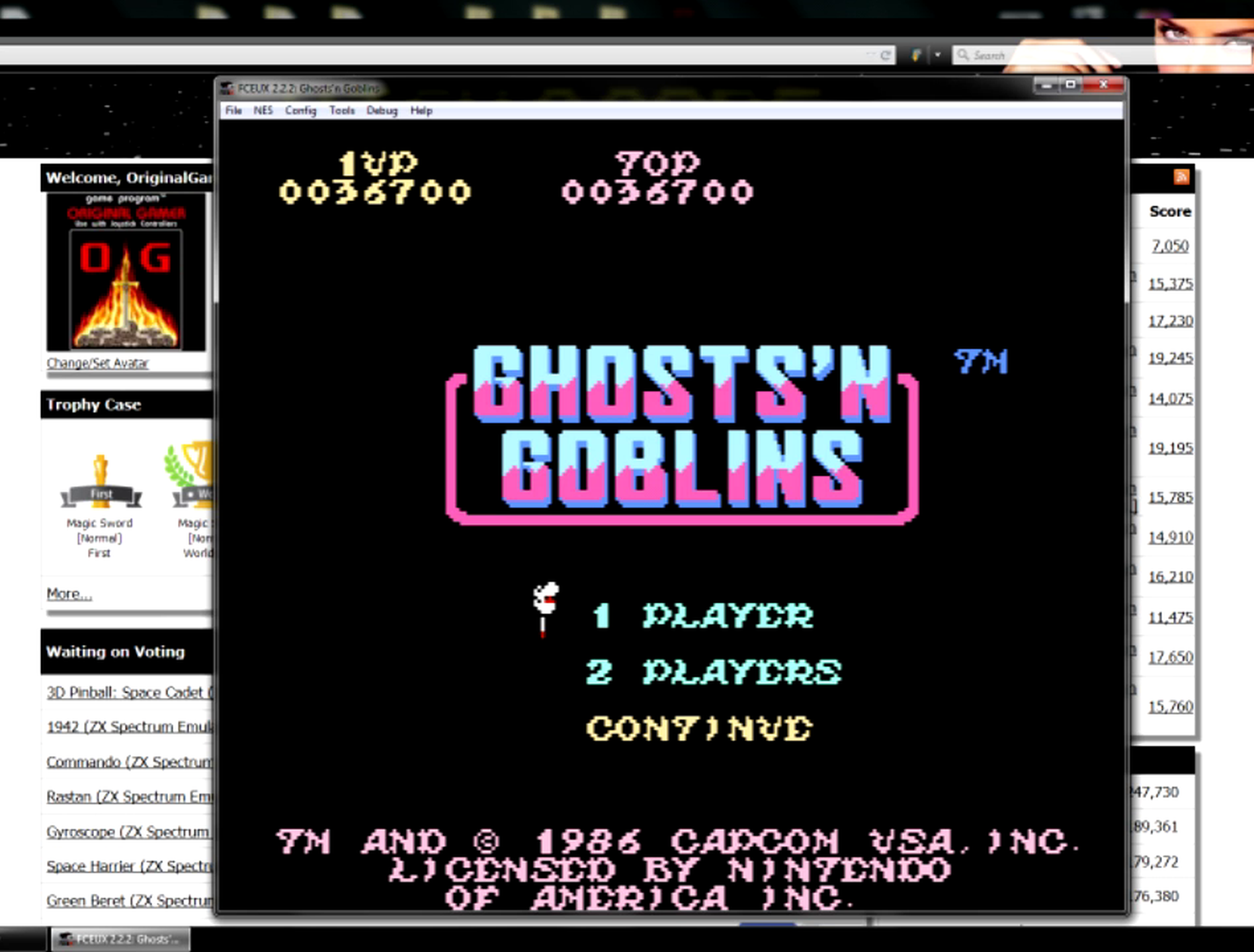 Ghosts N Goblins 36,700 points