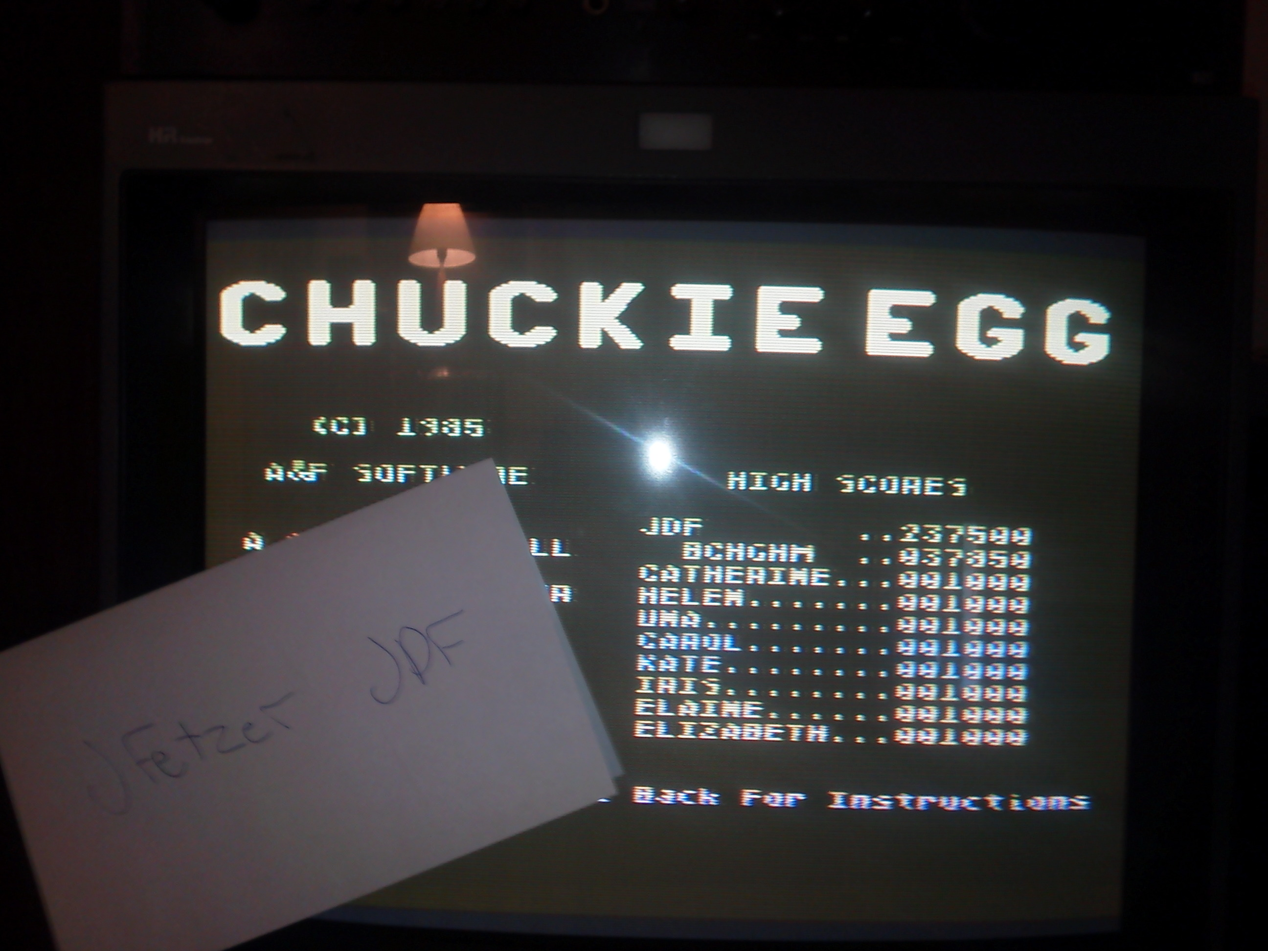 jfetzer: Chuckie Egg (Atari 400/800/XL/XE) 237,500 points on 2015-04-30 15:27:14