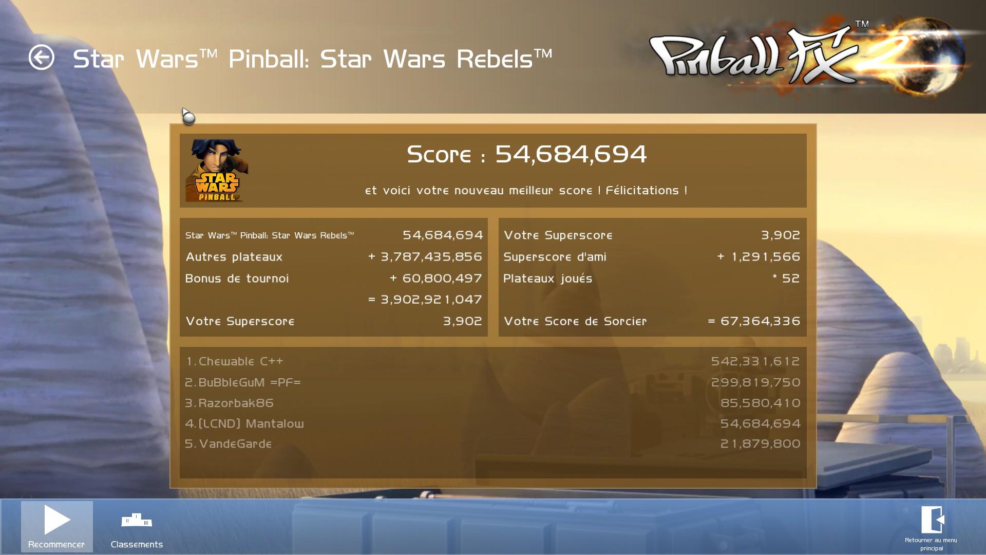 Mantalow: Pinball FX2: Star Wars Pinball: Star Wars Rebels (PC) 54,684,694 points on 2015-05-02 02:16:46
