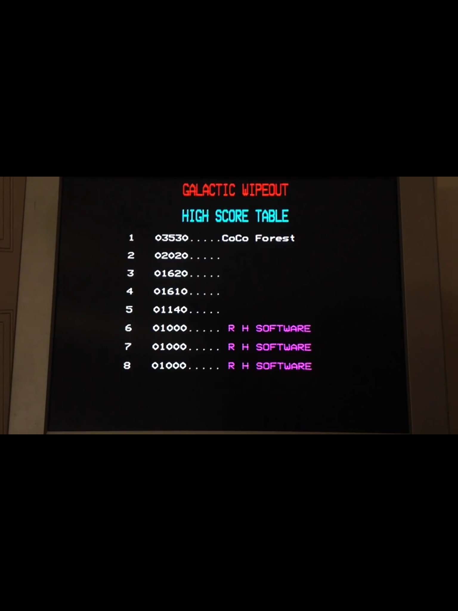 CoCoForest: Galactic Wipeout (BBC Micro) 3,530 points on 2015-05-02 12:14:28