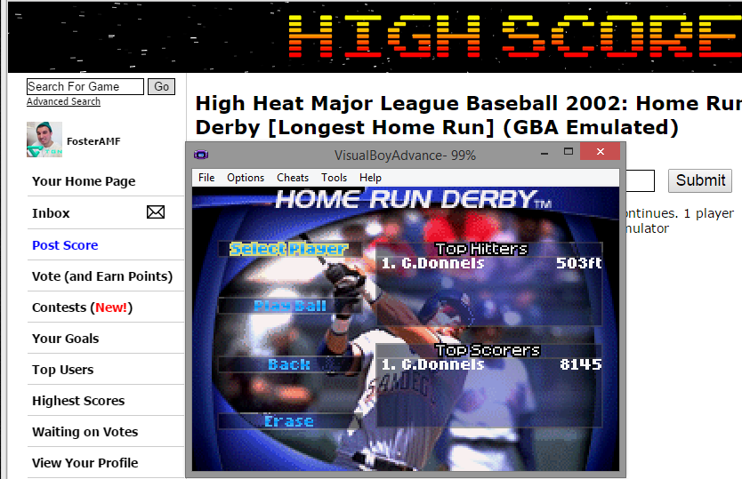 FosterAMF: High Heat Major League Baseball 2002: Home Run Derby [Longest Home Run] (GBA Emulated) 503 points on 2015-05-03 15:04:39