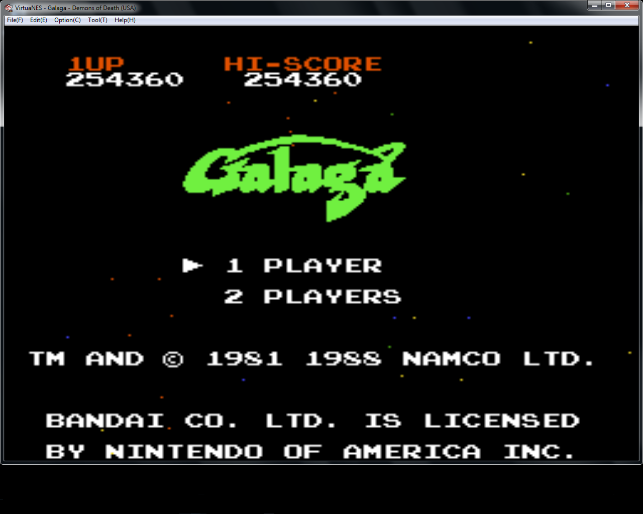 Galaga 254,360 points