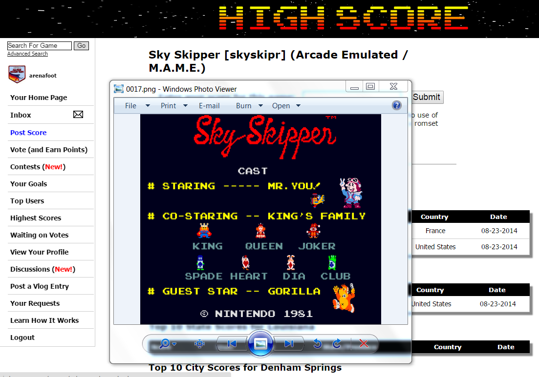 arenafoot: Sky Skipper [skyskipr] (Arcade Emulated / M.A.M.E.) 27,560 points on 2015-05-07 20:40:20
