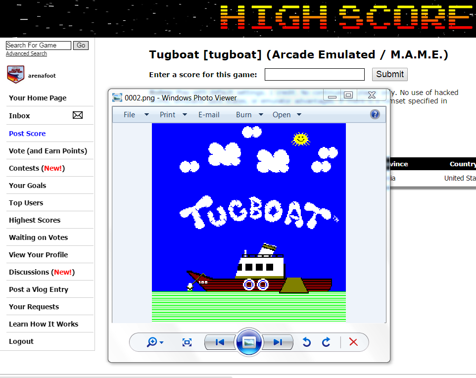 arenafoot: Tugboat [tugboat] (Arcade Emulated / M.A.M.E.) 105 points on 2015-05-07 21:26:46