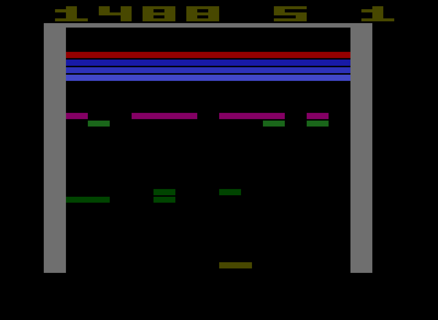 HexNash: Super Breakout: Game 7 (Atari 2600 Emulated Novice/B Mode) 1,488 points on 2013-10-26 14:44:54