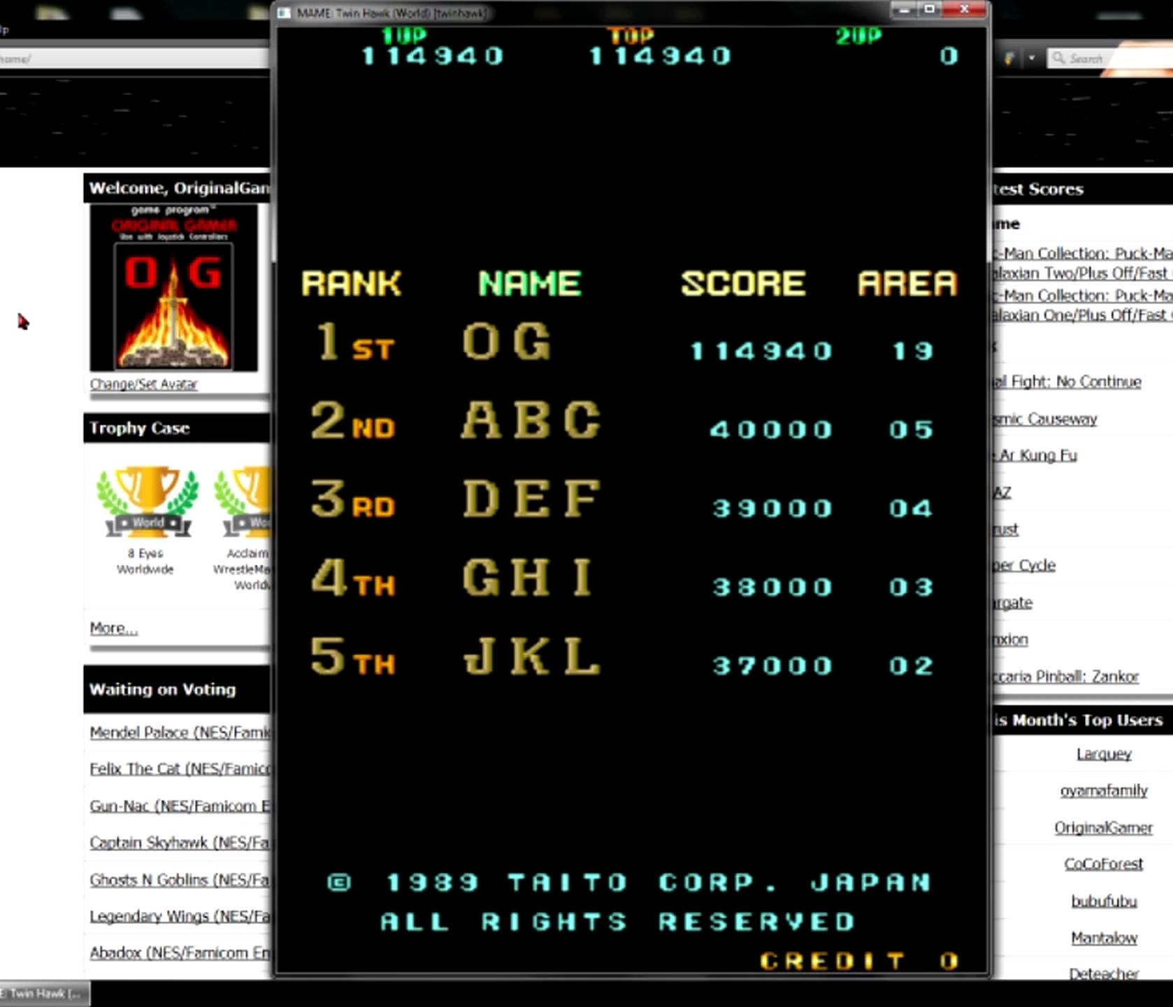 OriginalGamer: Twin Hawk [twinhawk] (Arcade Emulated / M.A.M.E.) 114,940 points on 2015-05-11 13:13:18