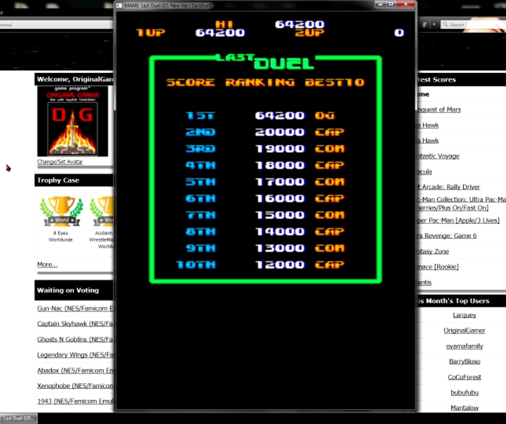 OriginalGamer: Last Duel [lastduel] (Arcade Emulated / M.A.M.E.) 64,200 points on 2015-05-11 13:26:25