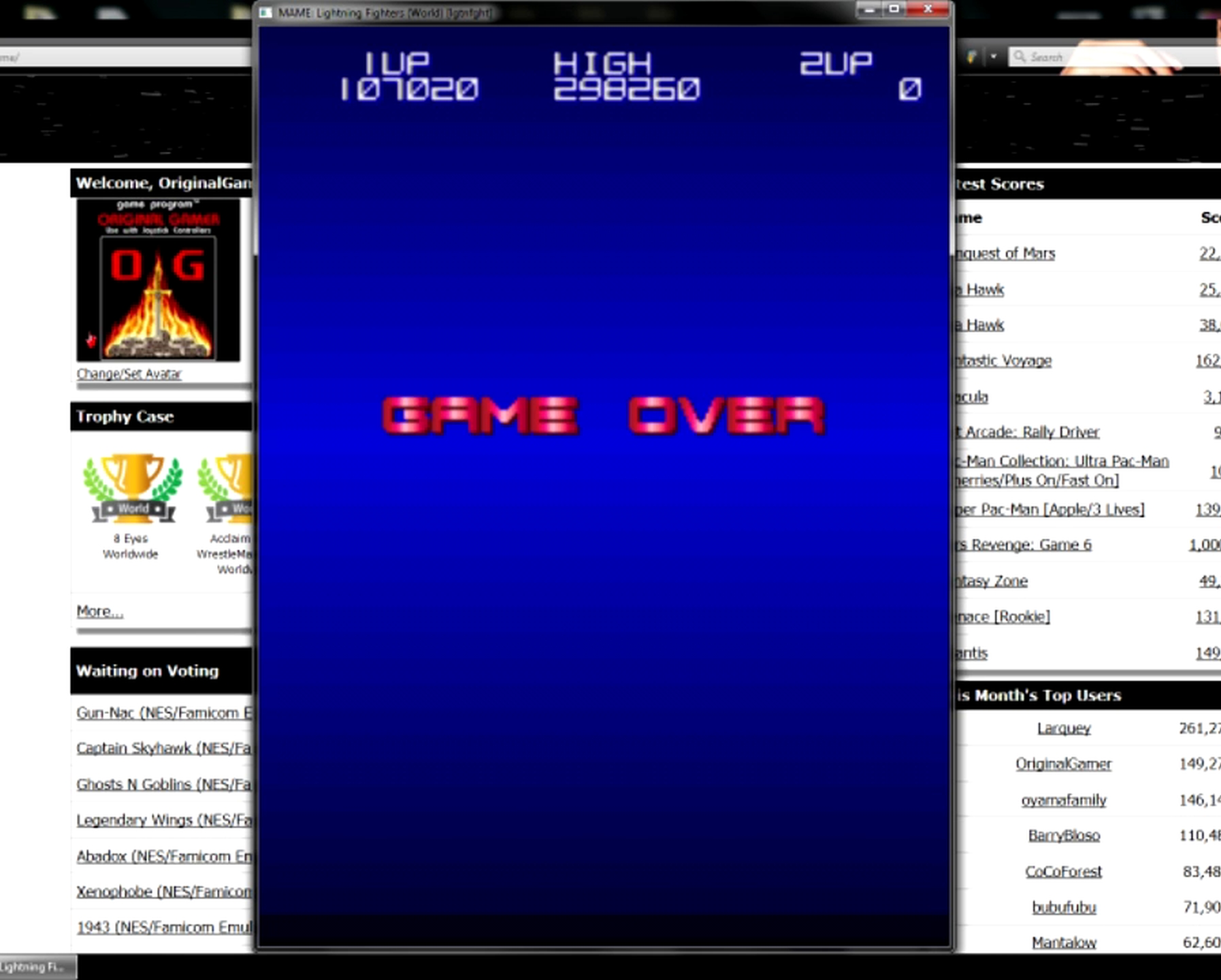 OriginalGamer: Lightning Fighters [lgtnfght] (Arcade Emulated / M.A.M.E.) 107,020 points on 2015-05-11 13:28:23