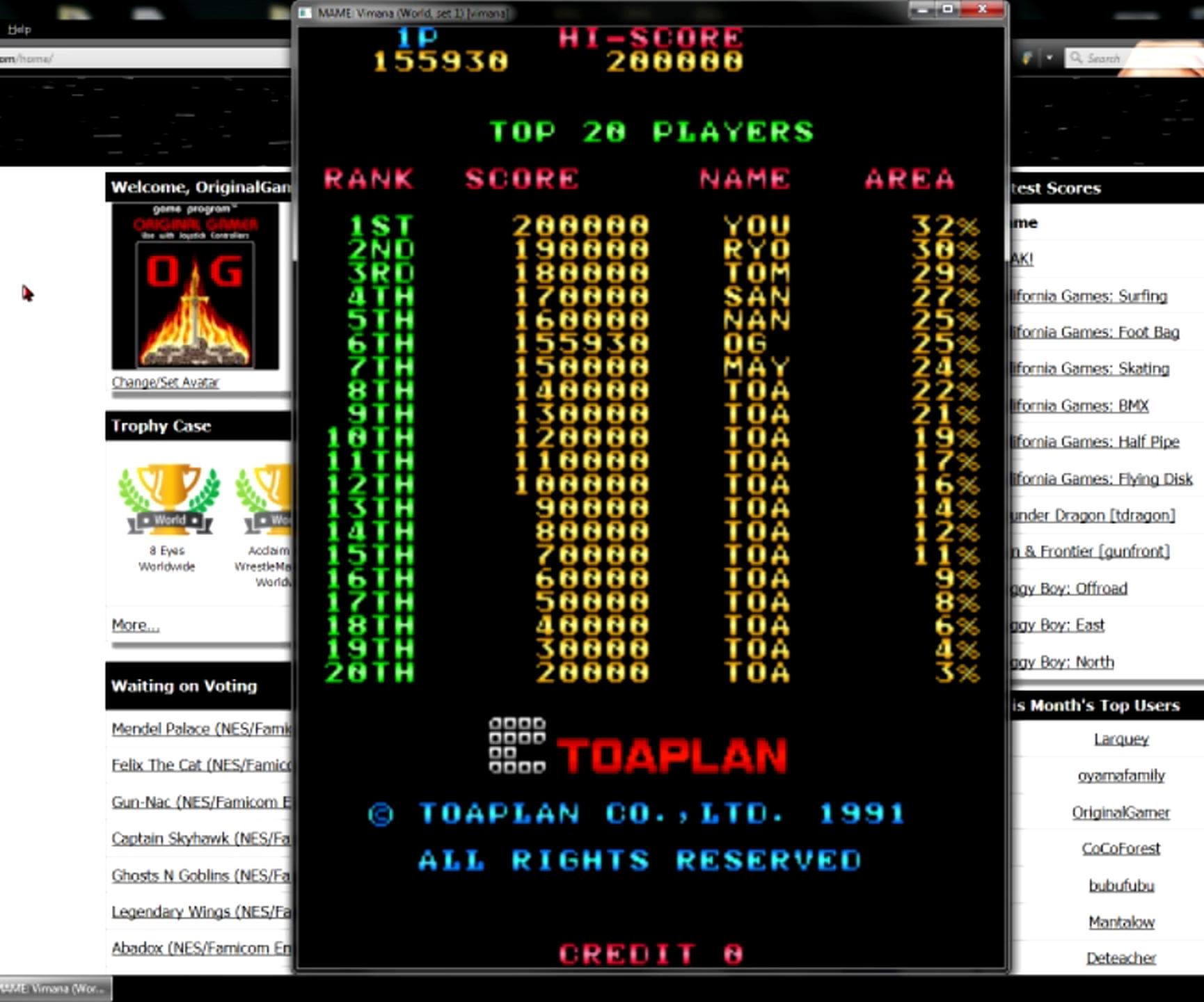 OriginalGamer: Vimana (Arcade Emulated / M.A.M.E.) 155,930 points on 2015-05-11 13:32:15
