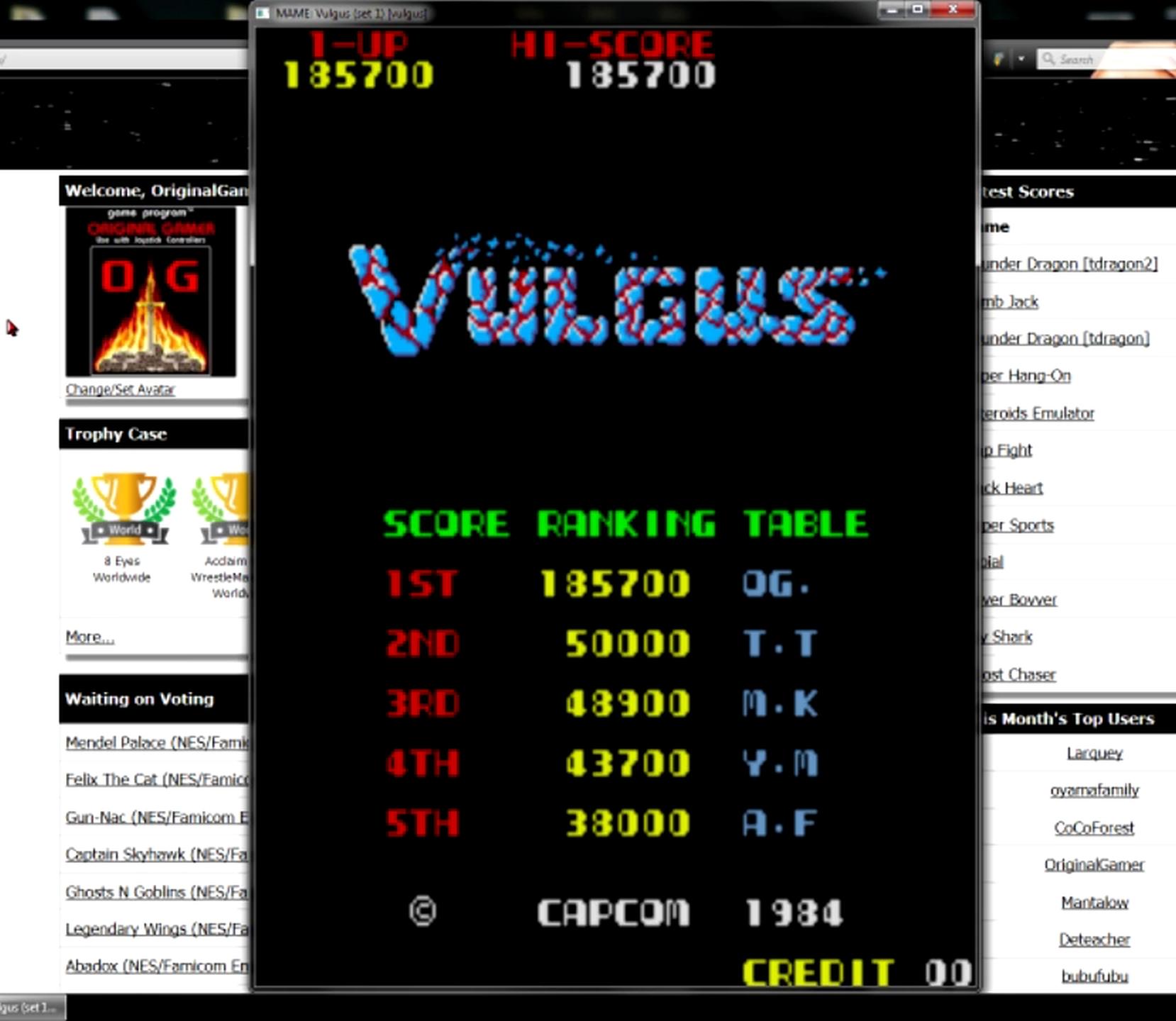 OriginalGamer: Vulgus [vulgus] (Arcade Emulated / M.A.M.E.) 185,700 points on 2015-05-11 13:33:49