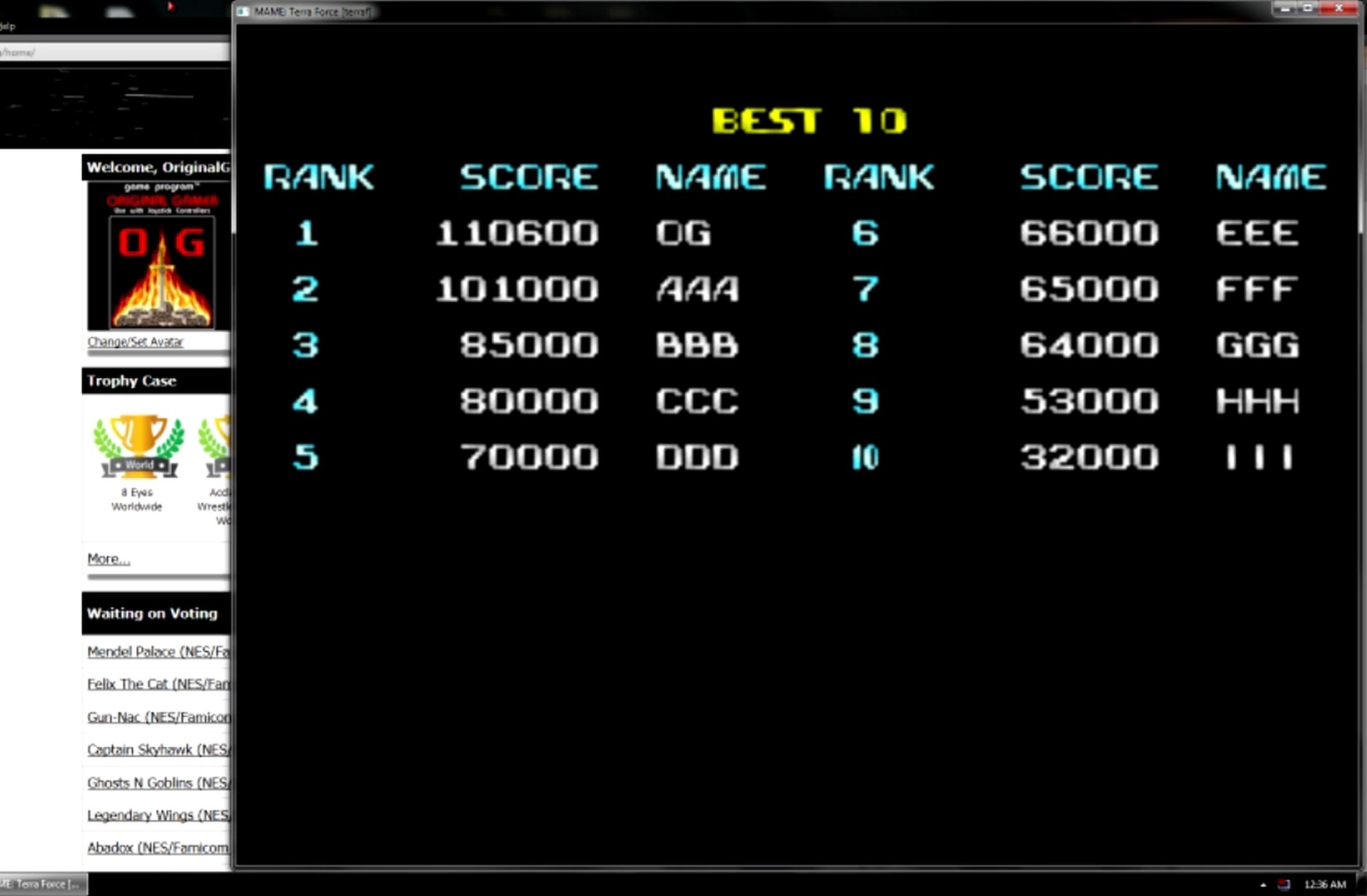 OriginalGamer: Terra Force (Arcade Emulated / M.A.M.E.) 110,600 points on 2015-05-11 13:37:30