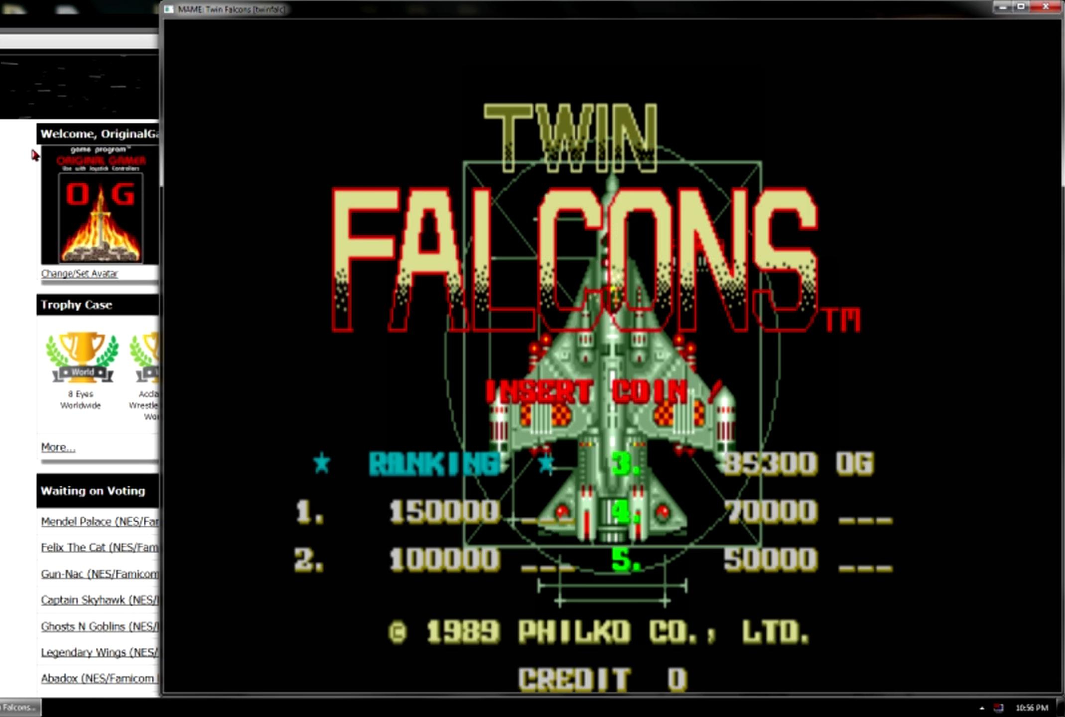 OriginalGamer: Twin Falcons [twinfalc] (Arcade Emulated / M.A.M.E.) 85,300 points on 2015-05-11 13:38:27