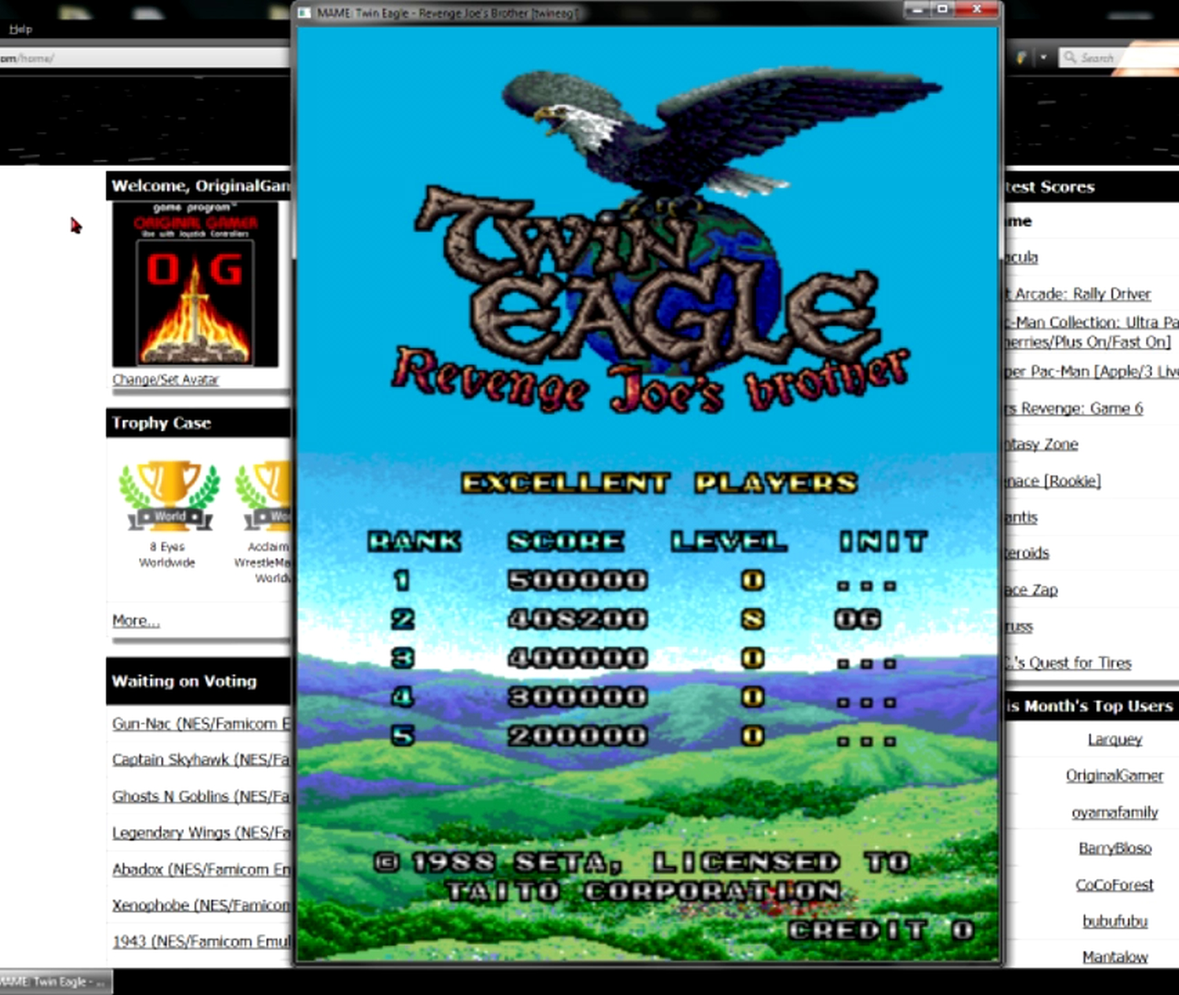 OriginalGamer: Twin Eagle [twineagl] (Arcade Emulated / M.A.M.E.) 408,200 points on 2015-05-11 13:39:28