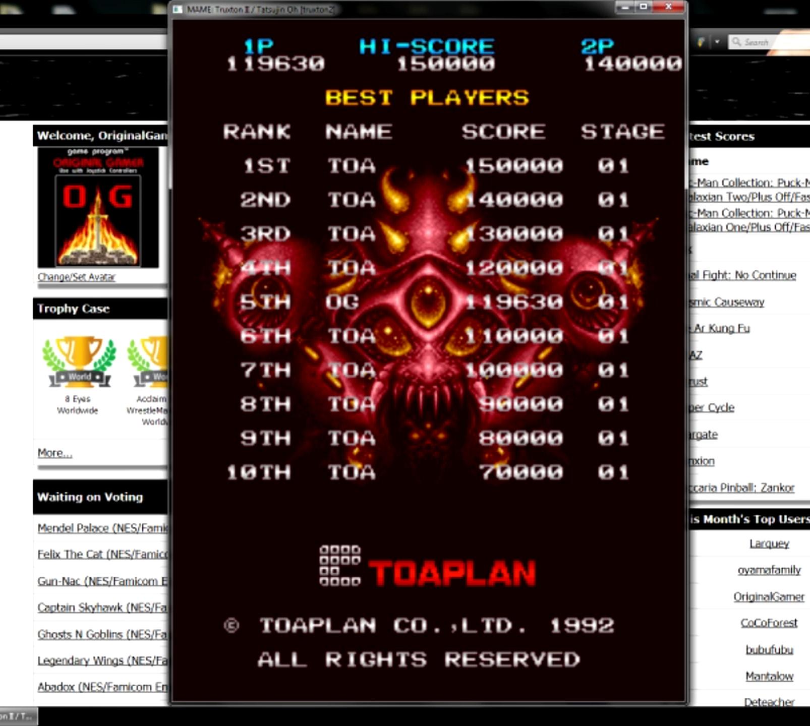 OriginalGamer: Truxton II / Tatsujin Oh [truxton2] (Arcade Emulated / M.A.M.E.) 119,630 points on 2015-05-11 13:43:05