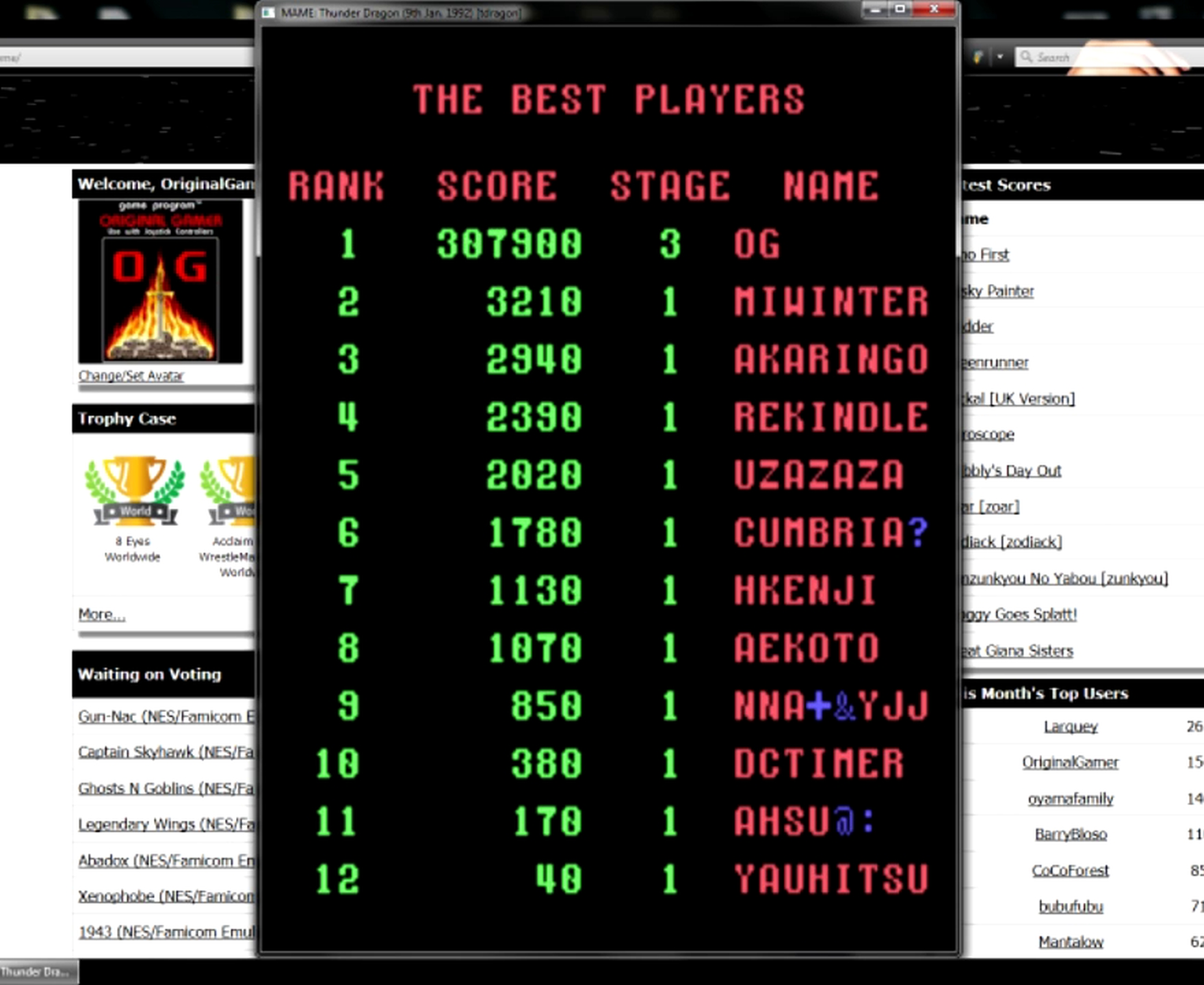 OriginalGamer: Thunder Dragon [tdragon] (Arcade Emulated / M.A.M.E.) 307,900 points on 2015-05-11 13:46:33