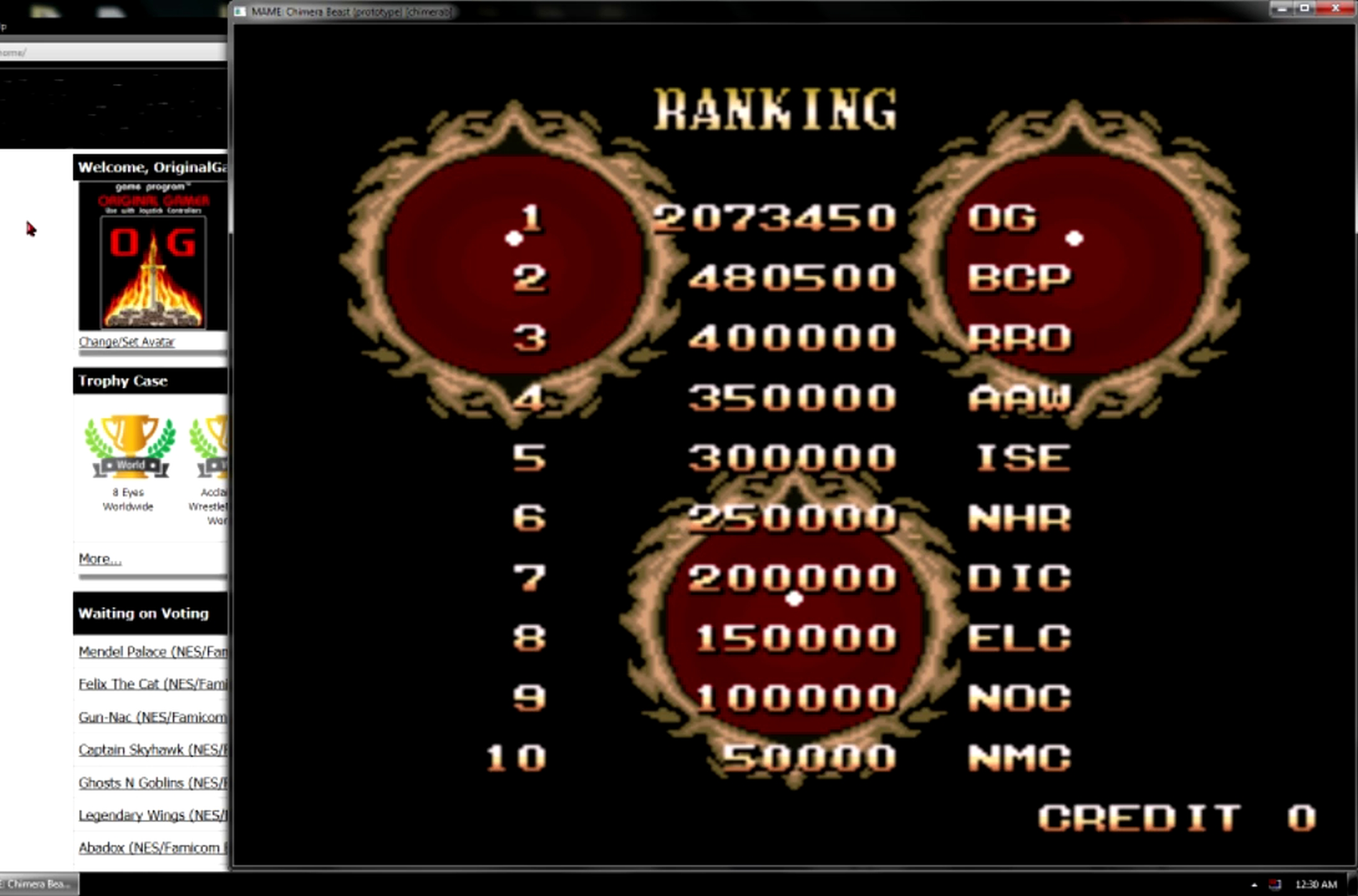 OriginalGamer: Chimera Beast [Prototype] (Arcade Emulated / M.A.M.E.) 2,073,450 points on 2015-05-11 13:50:33