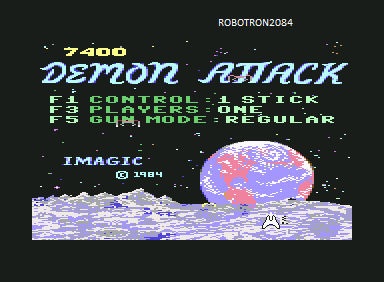 Robotron2084: Demon Attack (Commodore 64 Emulated) 7,400 points on 2013-10-28 02:24:48