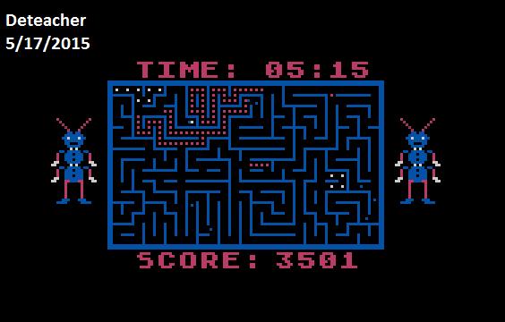 Deteacher: Tumble Bugs (Atari 400/800/XL/XE Emulated) 3,501 points on 2015-05-17 17:14:43