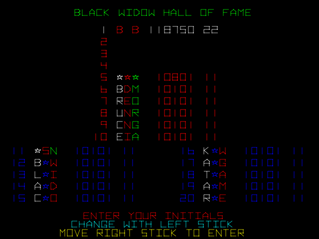 BarryBloso: Black Widow (Arcade Emulated / M.A.M.E.) 118,750 points on 2015-05-20 07:51:43