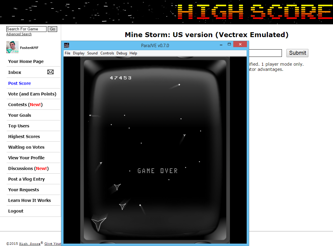 FosterAMF: Mine Storm: US version (Vectrex Emulated) 47,453 points on 2015-05-22 02:32:31