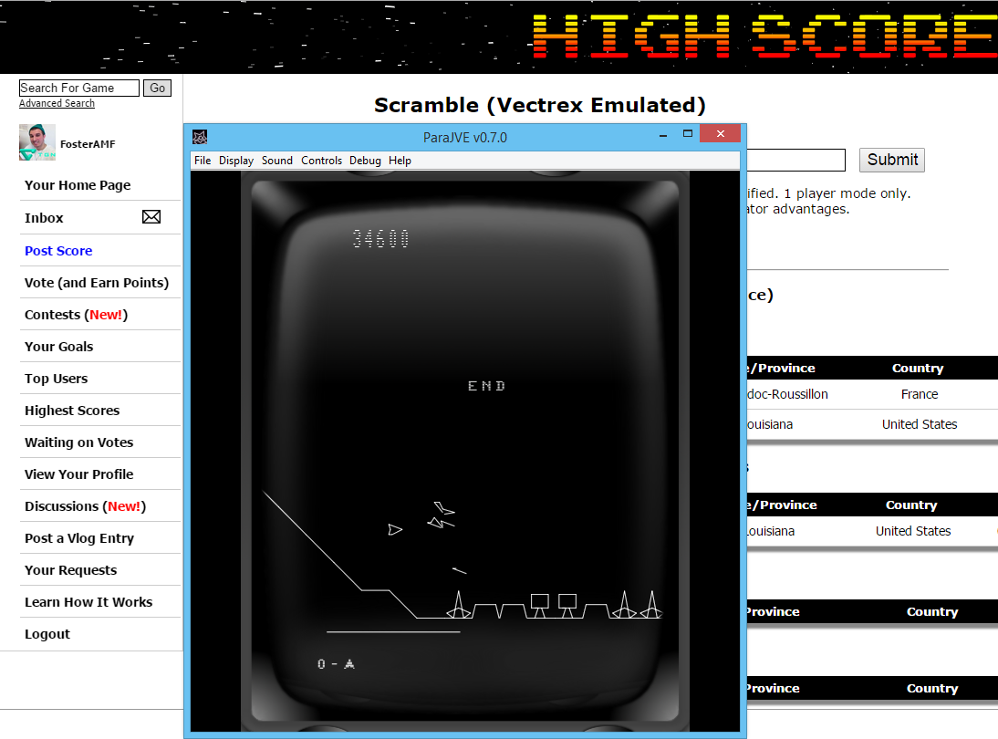 FosterAMF: Scramble (Vectrex Emulated) 34,600 points on 2015-05-22 02:42:36