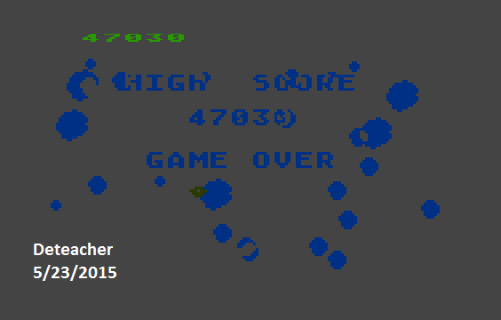 Deteacher: Asteroids: Default (Atari 400/800/XL/XE Emulated) 47,030 points on 2015-05-23 20:33:17