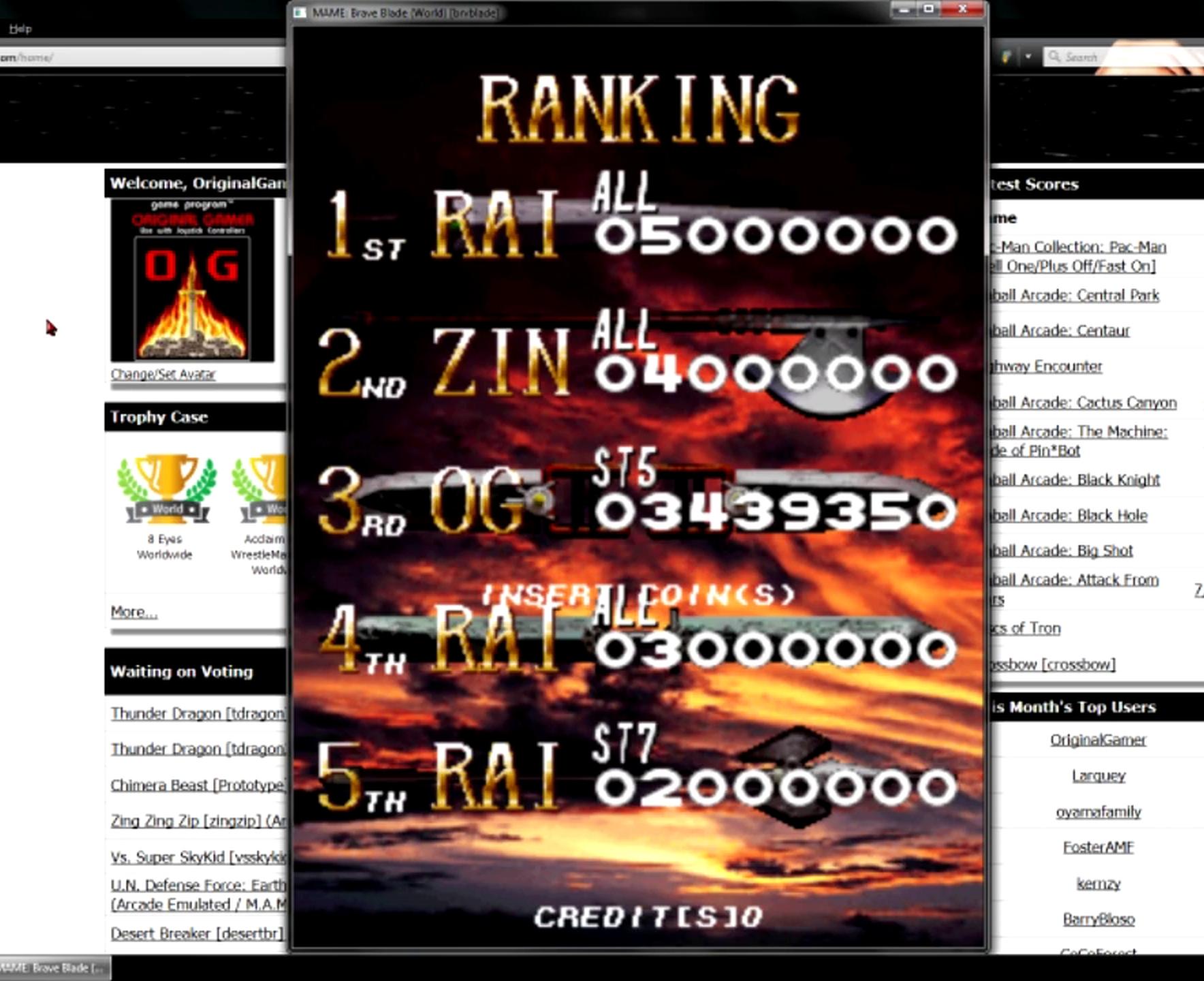 OriginalGamer: Brave Blade [brvblade] (Arcade Emulated / M.A.M.E.) 3,439,350 points on 2015-05-27 19:50:09