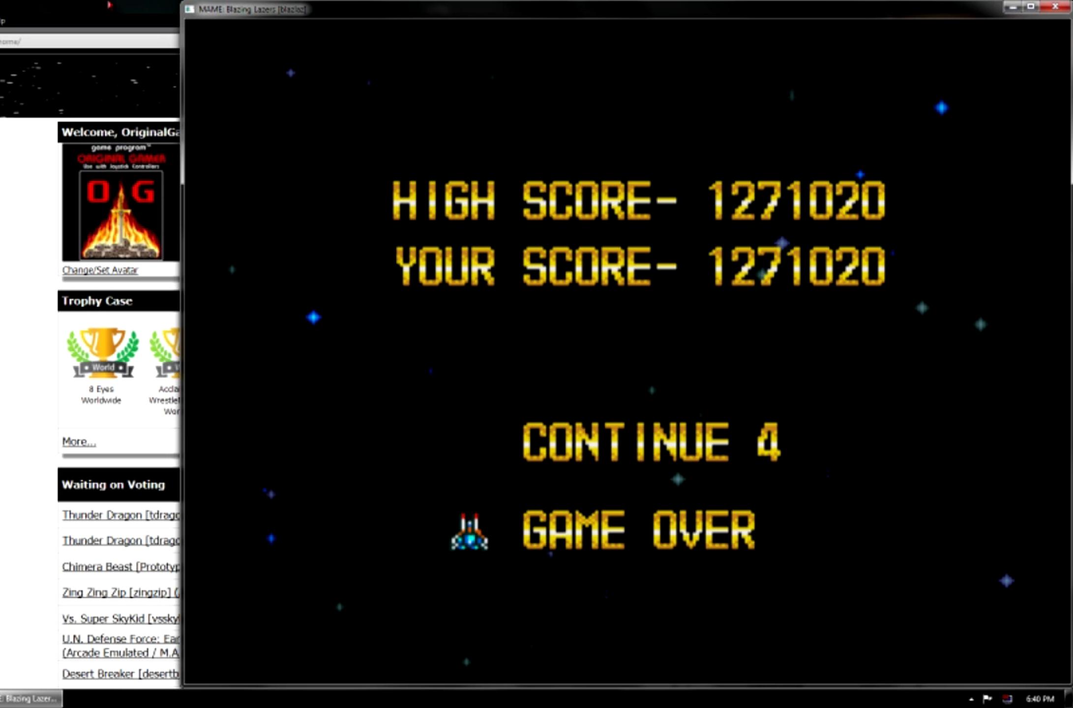 OriginalGamer: Blazing Lazers (Arcade Emulated / M.A.M.E.) 1,271,020 points on 2015-05-27 19:52:30