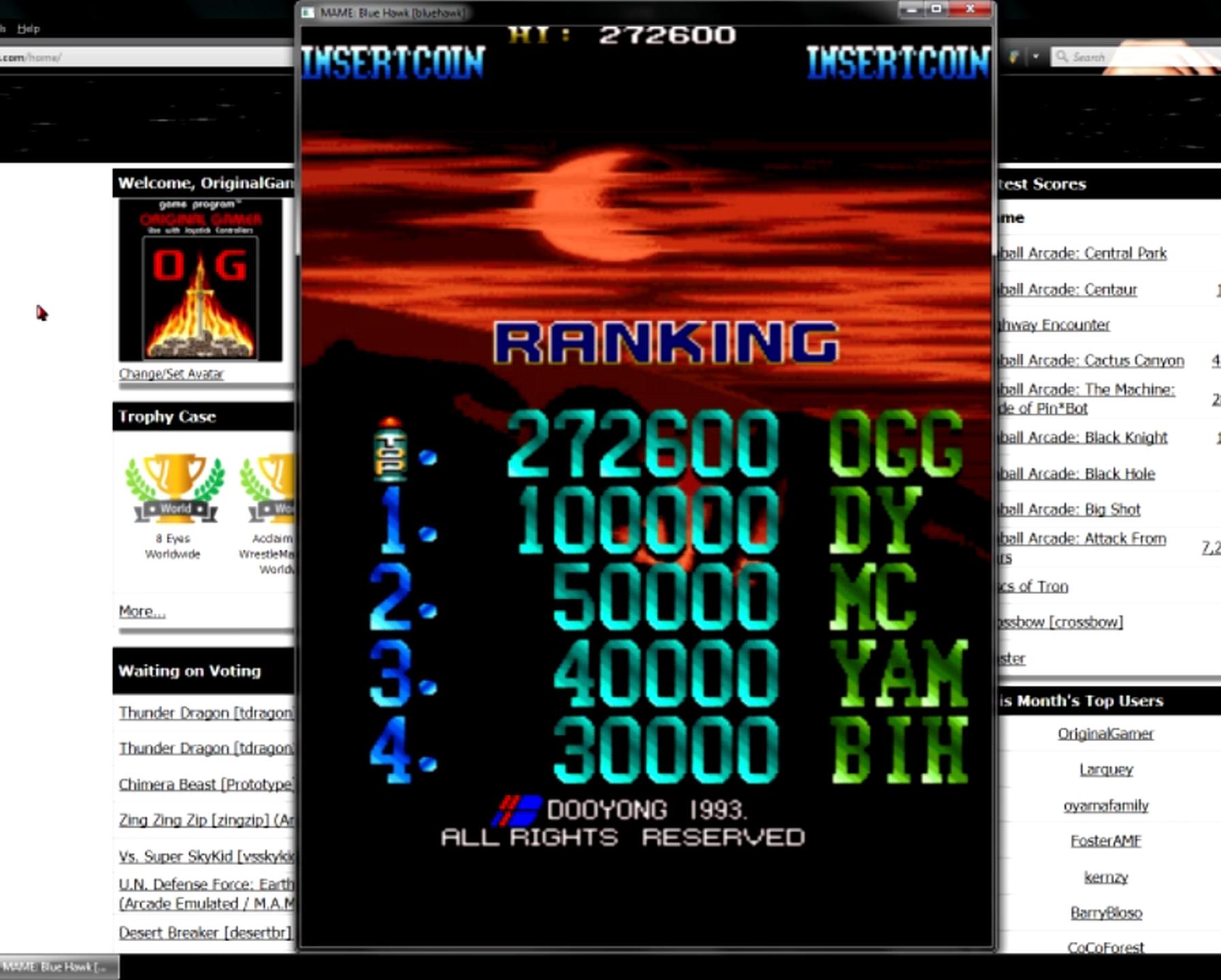 OriginalGamer: Blue Hawk [bluehawk] (Arcade Emulated / M.A.M.E.) 272,600 points on 2015-05-27 19:56:03