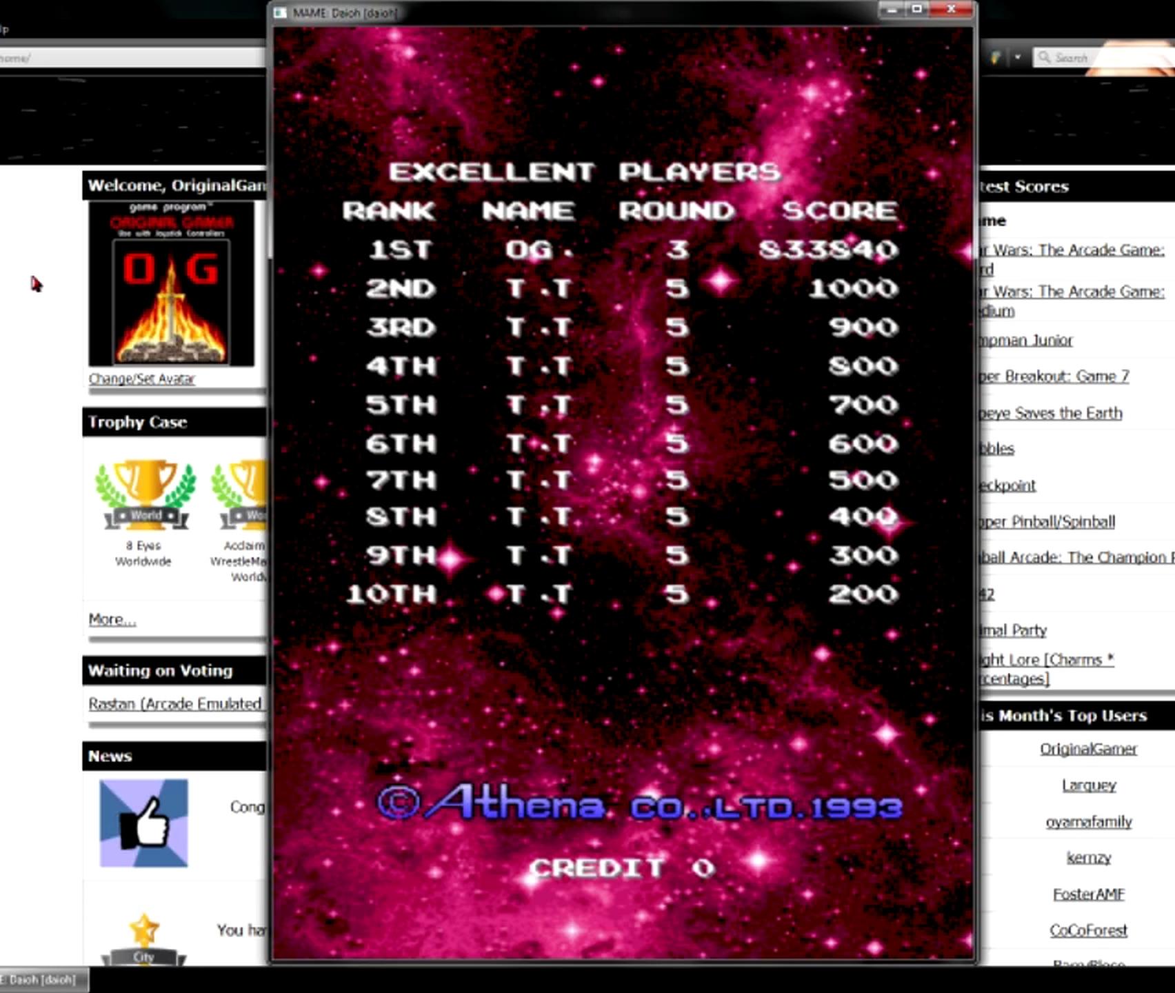 OriginalGamer: Daioh [daioh] (Arcade Emulated / M.A.M.E.) 833,840 points on 2015-05-27 20:03:25