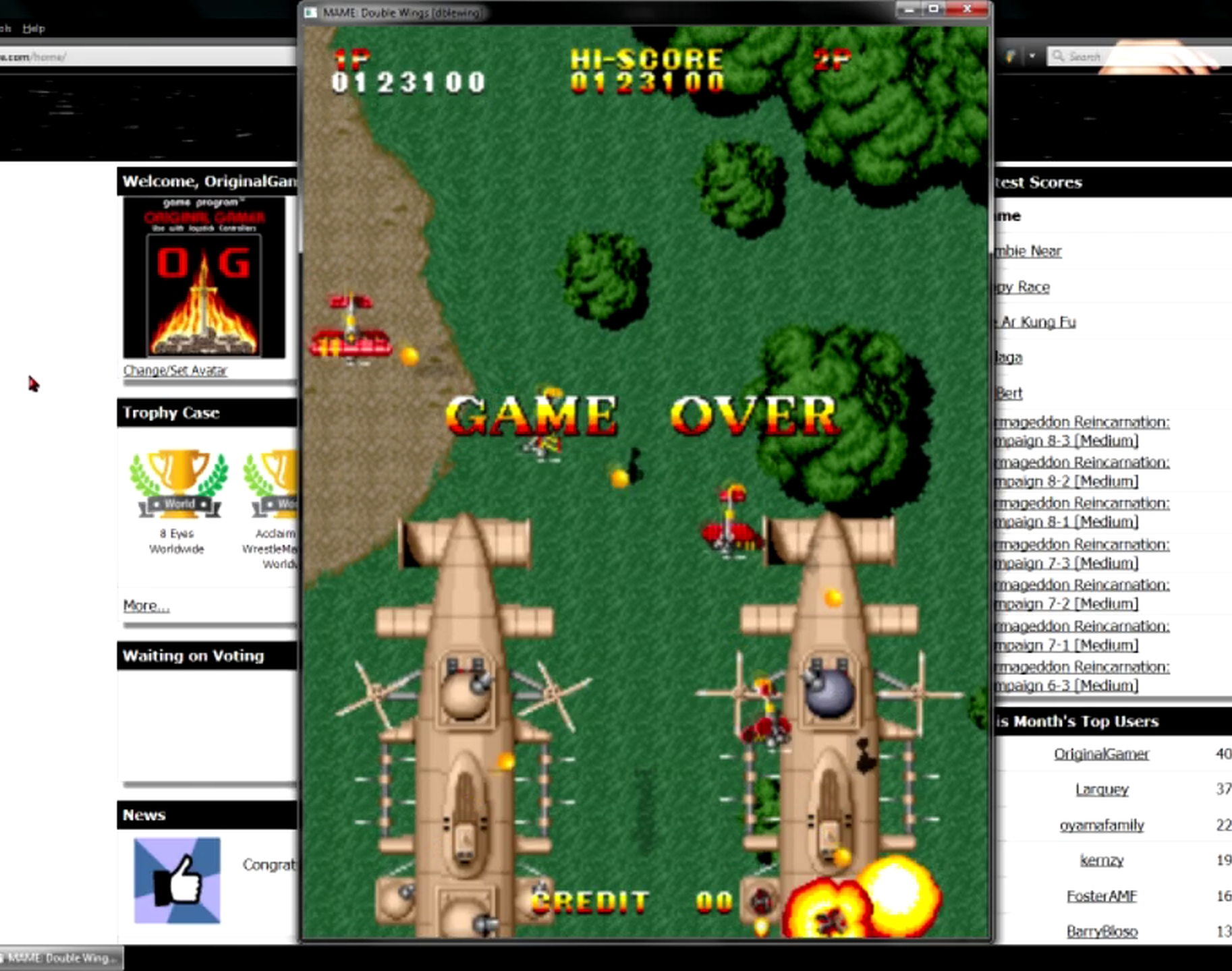 OriginalGamer: Double Wings [dblewing] (Arcade Emulated / M.A.M.E.) 123,100 points on 2015-05-27 20:07:42
