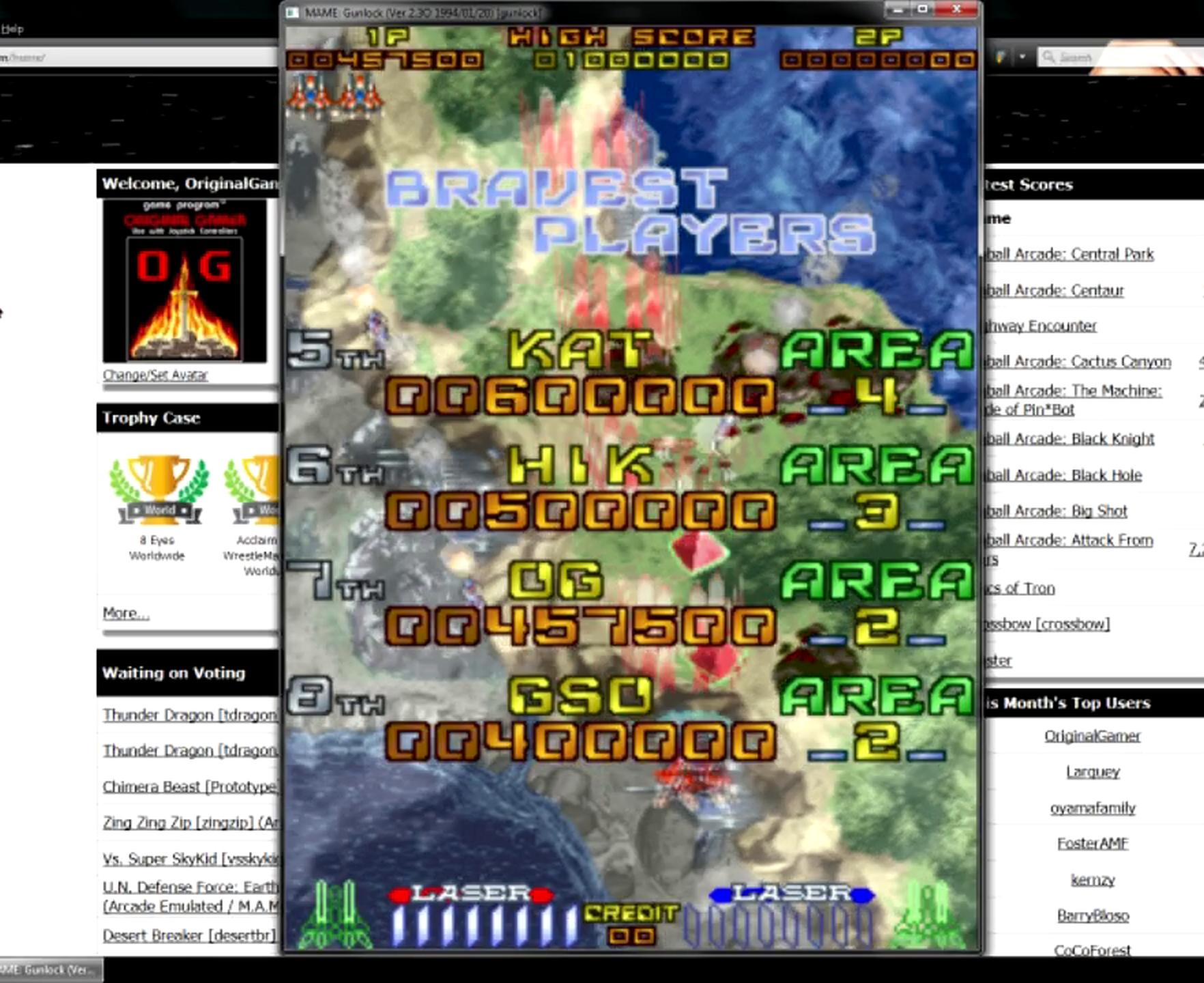 OriginalGamer: Gunlock [gunlock] (Arcade Emulated / M.A.M.E.) 457,500 points on 2015-05-27 20:13:21