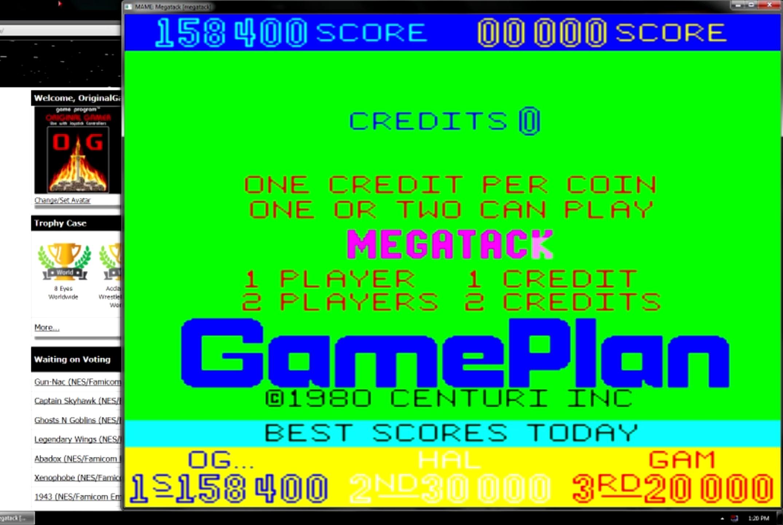 OriginalGamer: Megatack [megatack] (Arcade Emulated / M.A.M.E.) 158,400 points on 2015-05-27 20:18:19