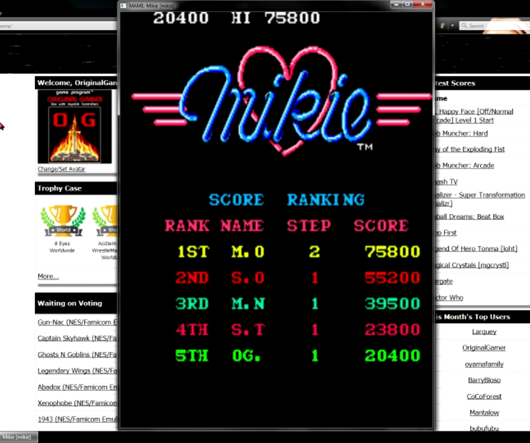 OriginalGamer: Mikie [mikie] (Arcade Emulated / M.A.M.E.) 20,400 points on 2015-05-27 20:19:34