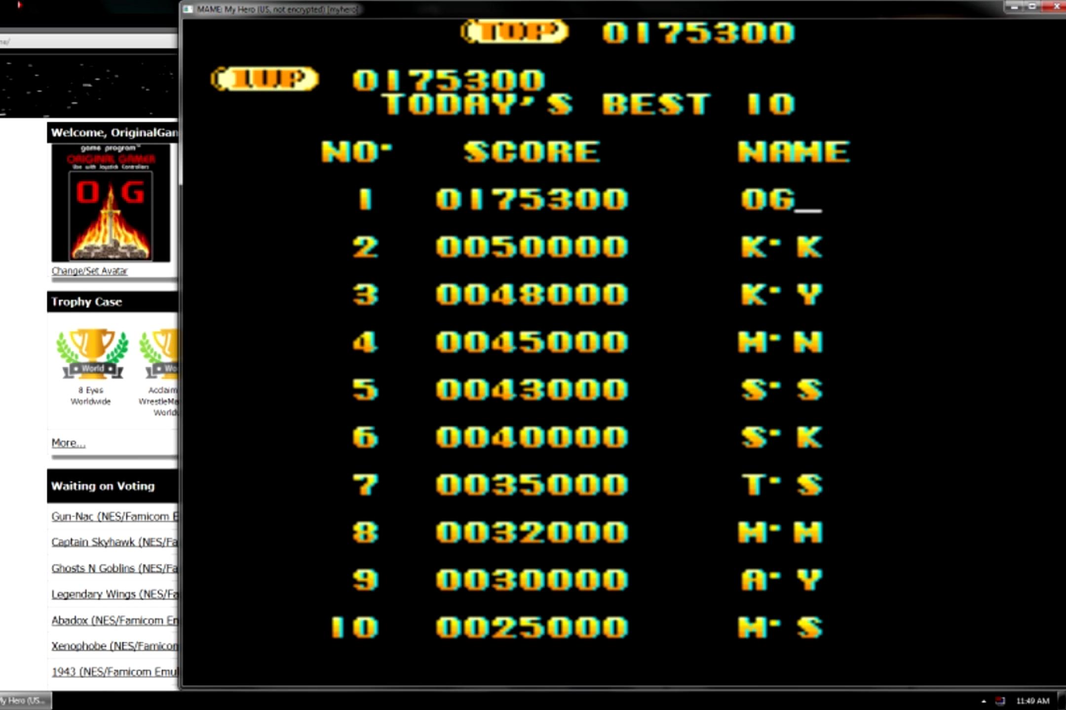 OriginalGamer: My Hero [myhero] (Arcade Emulated / M.A.M.E.) 175,300 points on 2015-05-27 20:20:42