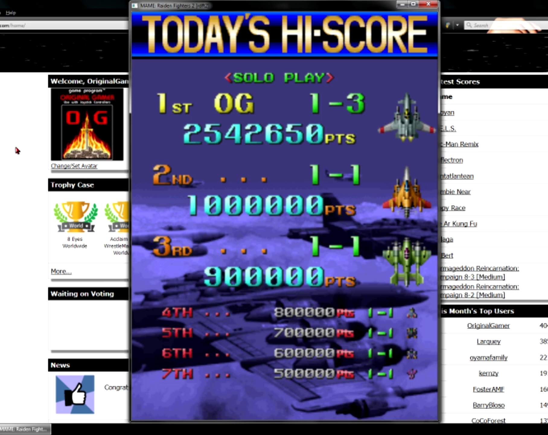 OriginalGamer: Raiden Fighters 2 [rdft2] (Arcade Emulated / M.A.M.E.) 2,542,650 points on 2015-05-27 20:21:54