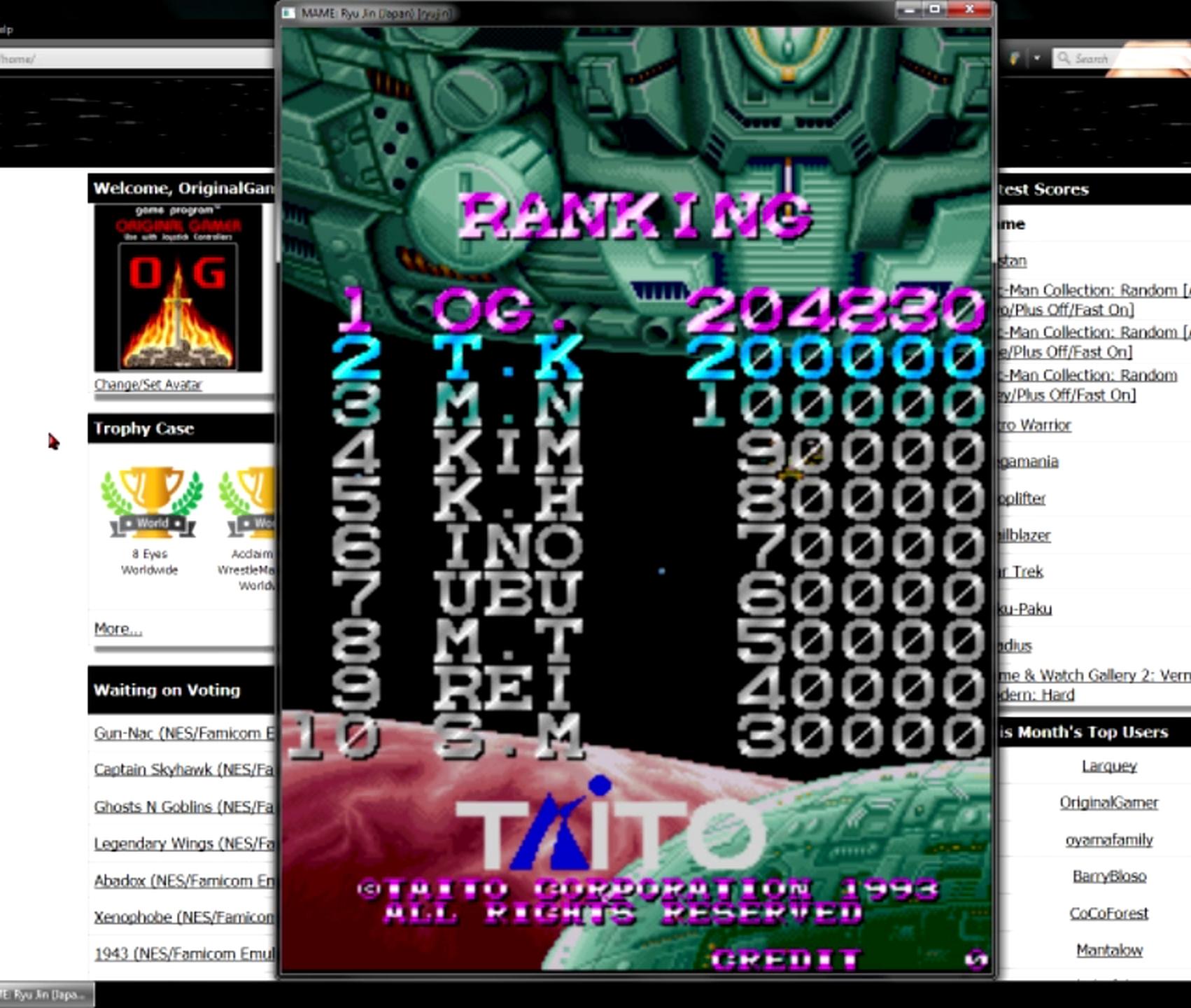 OriginalGamer: Ryu Jin [ryujin] (Arcade Emulated / M.A.M.E.) 204,830 points on 2015-05-27 20:25:14
