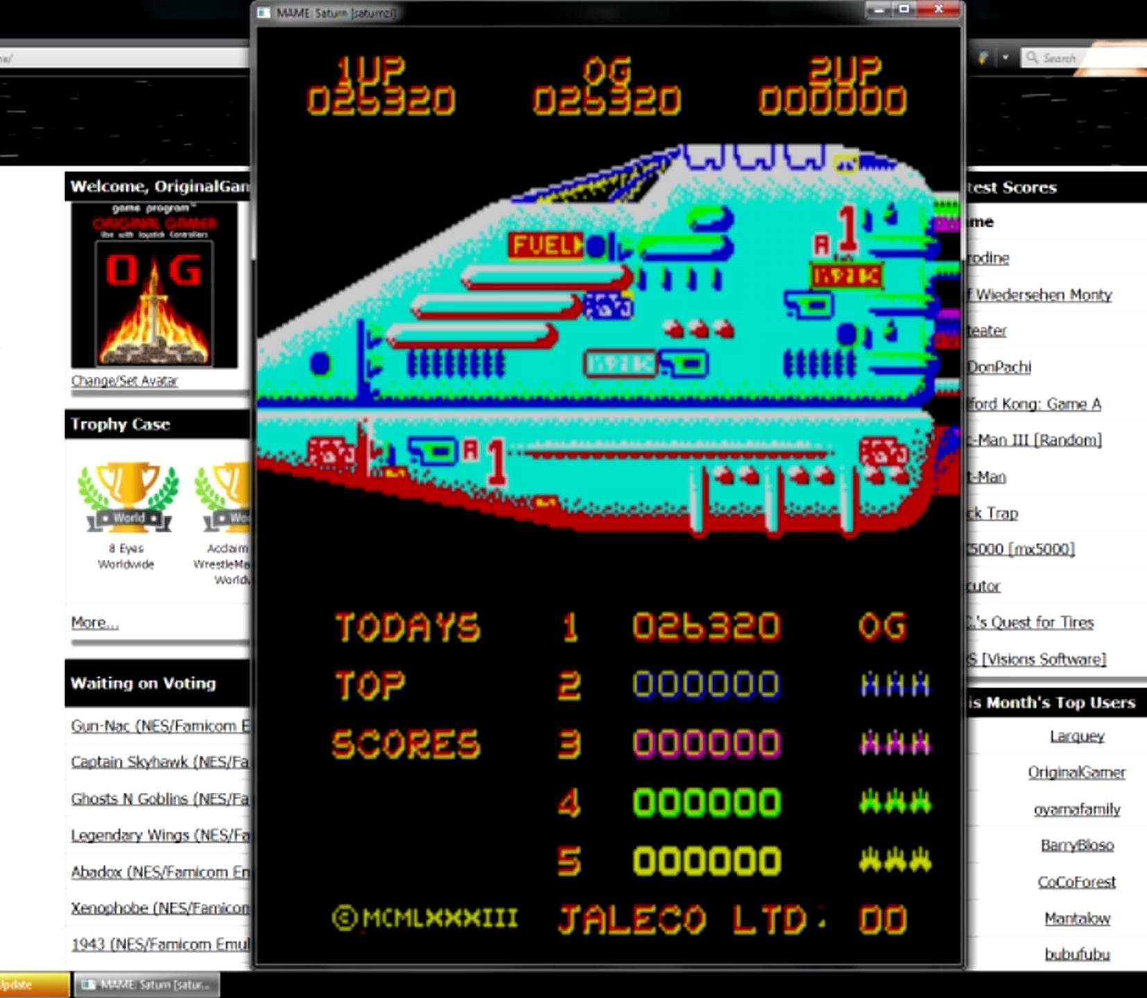 OriginalGamer: Saturn [saturnzi] (Arcade Emulated / M.A.M.E.) 26,320 points on 2015-05-27 20:30:38