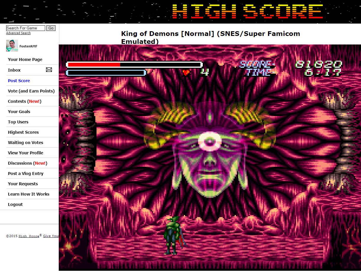 FosterAMF: King of Demons [Normal] (SNES/Super Famicom Emulated) 81,820 points on 2015-05-29 04:34:35