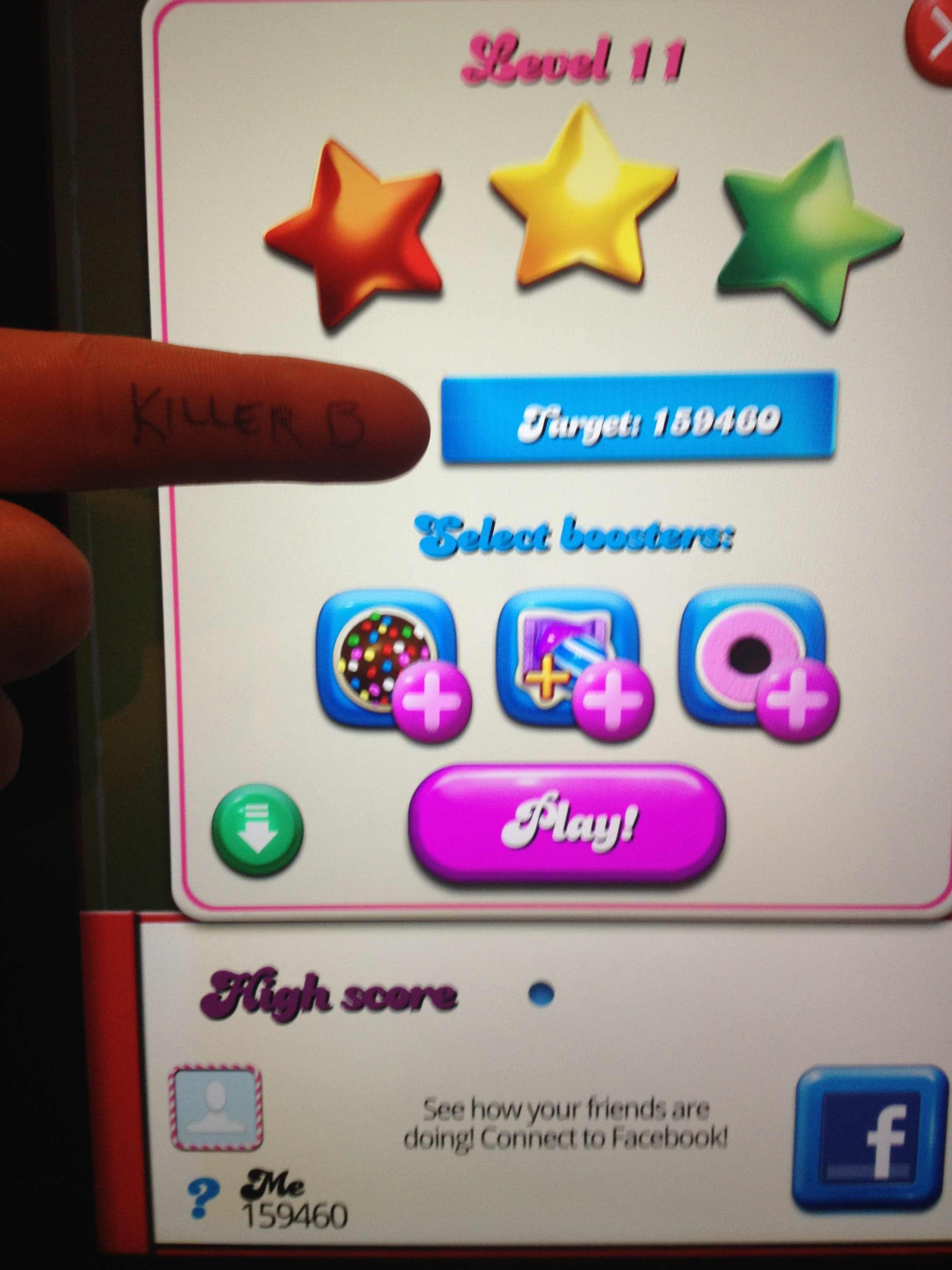 KillerB: Candy Crush Saga: Level 011 (iOS) 159,460 points on 2013-10-29 00:08:20