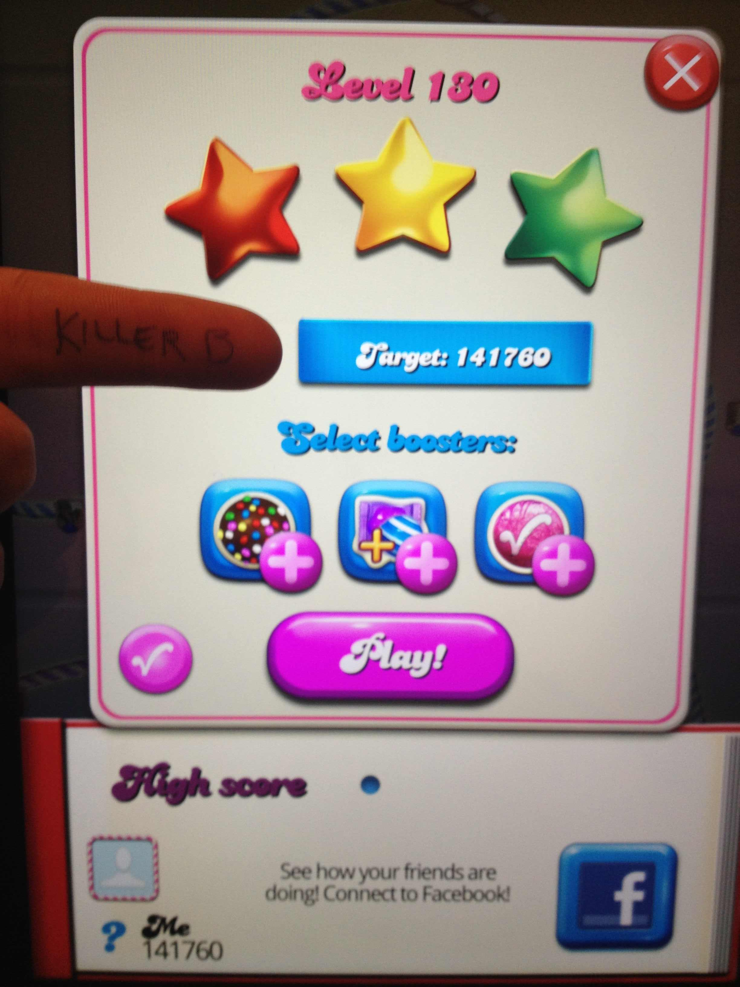 KillerB: Candy Crush Saga: Level 130 (iOS) 141,760 points on 2013-10-29 00:09:58