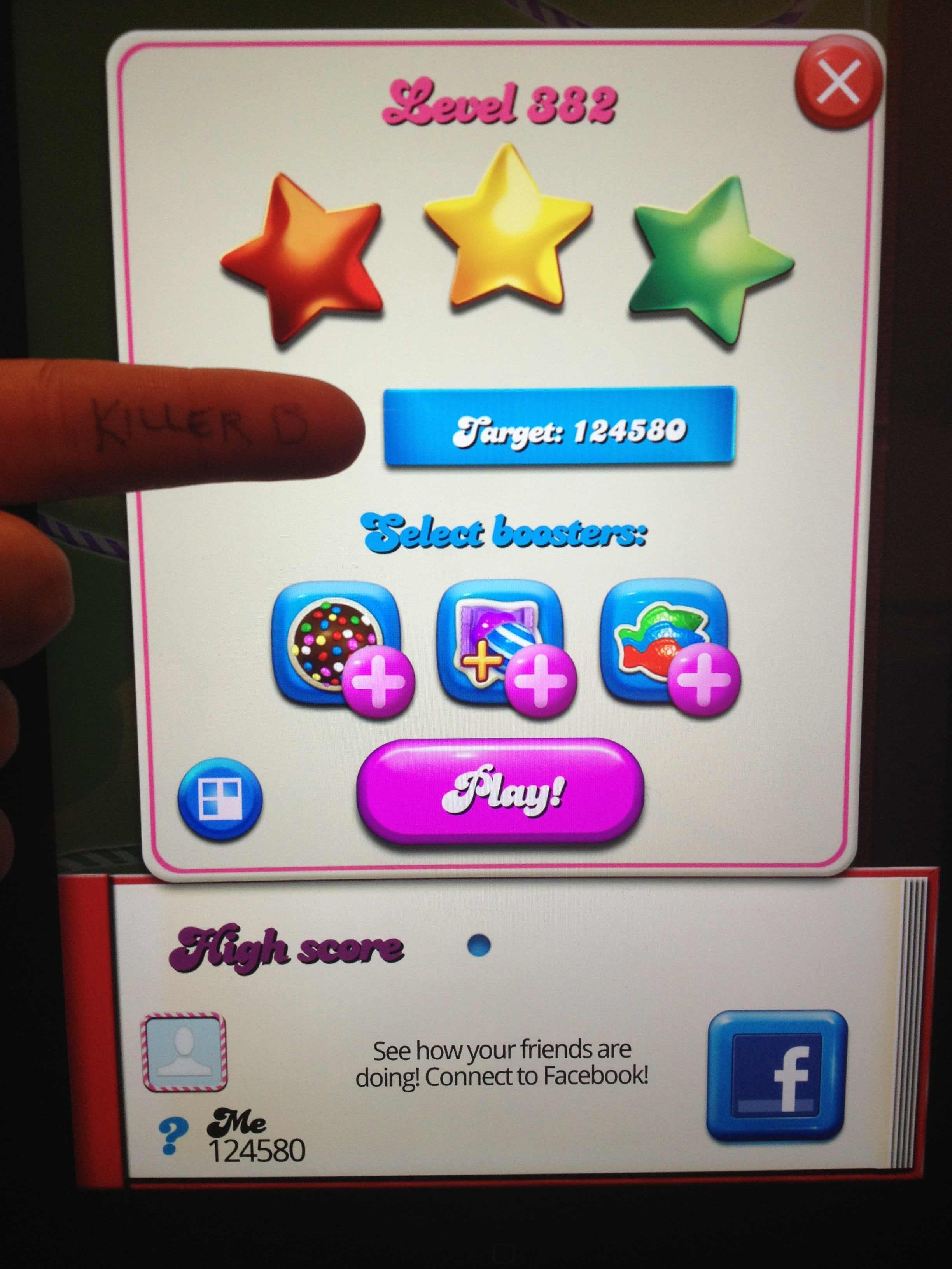 KillerB: Candy Crush Saga: Level 382 (iOS) 124,580 points on 2013-10-29 00:15:25