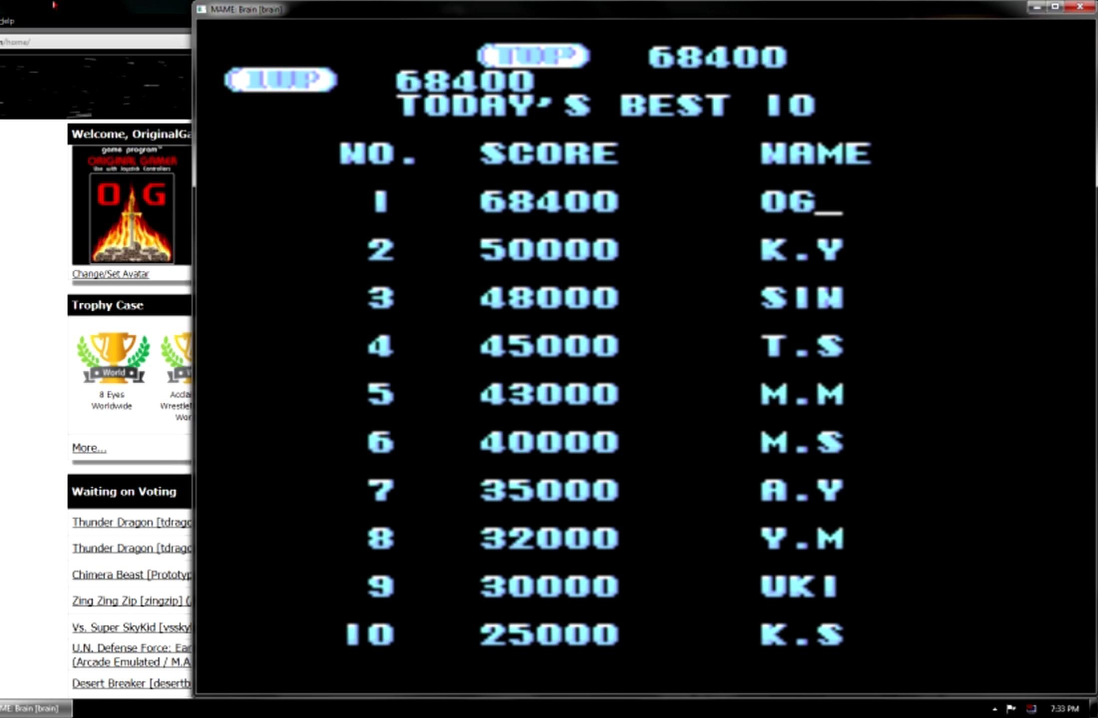OriginalGamer: Brain [brain] (Arcade Emulated / M.A.M.E.) 68,400 points on 2015-05-30 23:32:36