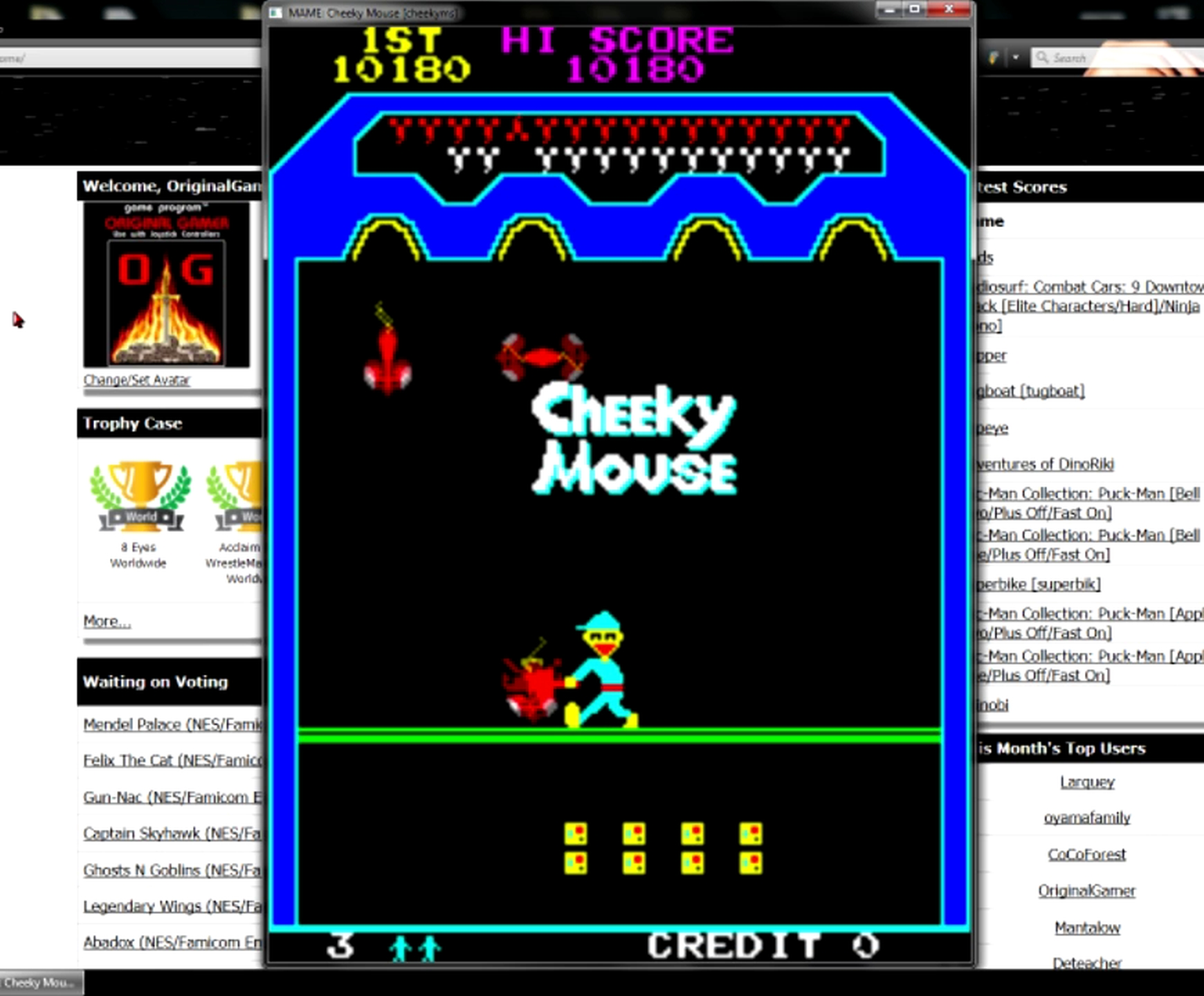 OriginalGamer: Cheeky Mouse [cheekyms] (Arcade Emulated / M.A.M.E.) 10,180 points on 2015-05-30 23:33:50