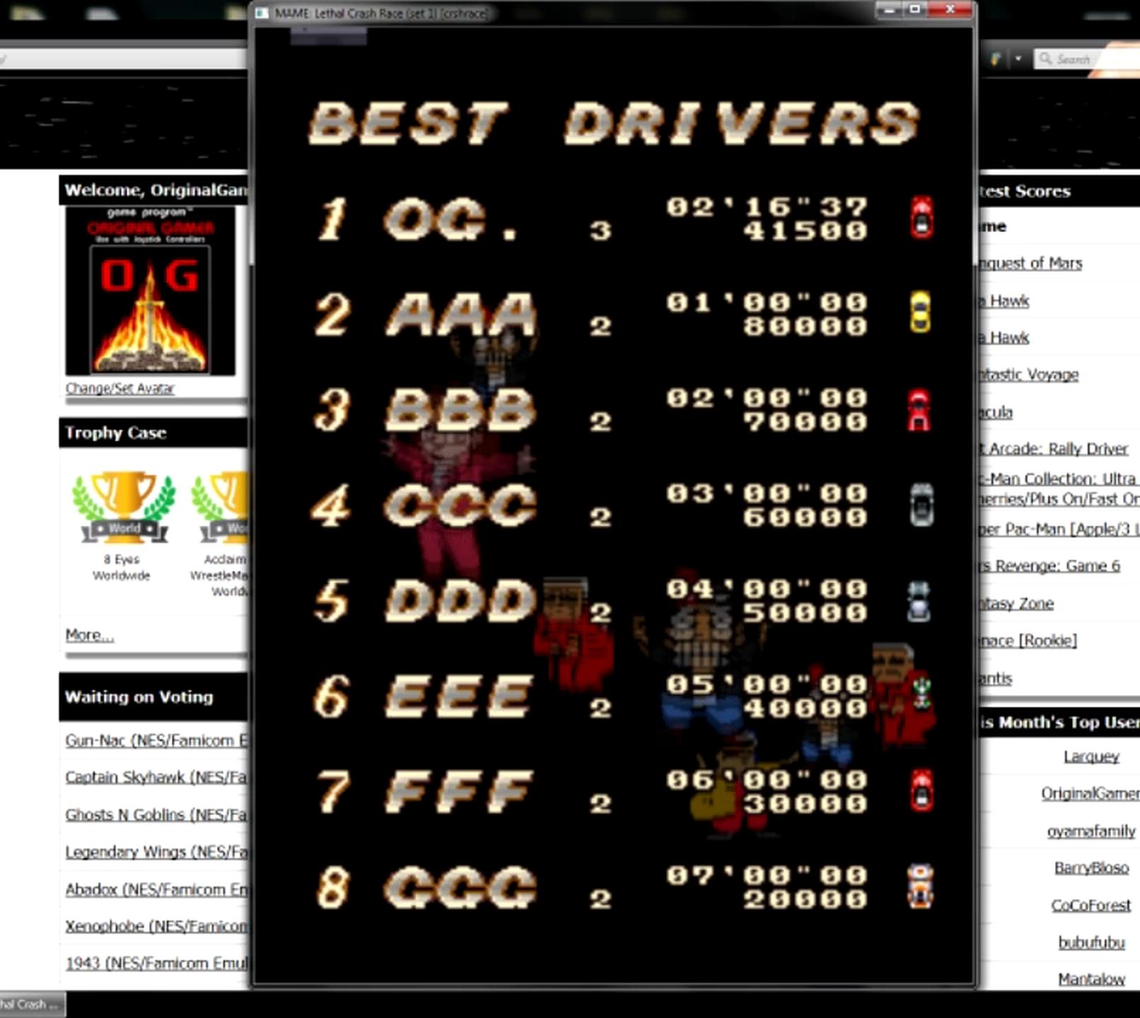 OriginalGamer: Lethal Crash Race [crshrace] (Arcade Emulated / M.A.M.E.) 41,500 points on 2015-05-30 23:42:58