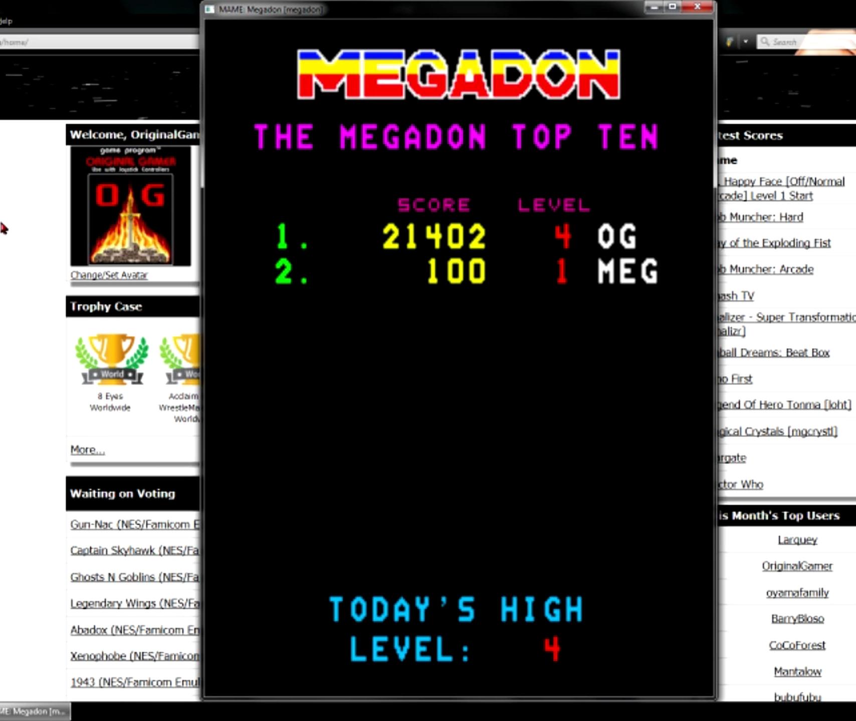OriginalGamer: Megadon [megadon] (Arcade Emulated / M.A.M.E.) 21,402 points on 2015-05-30 23:46:47