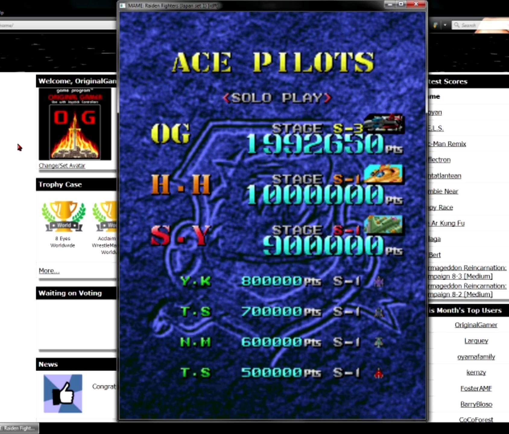 OriginalGamer: Raiden Fighters [rdft] (Arcade Emulated / M.A.M.E.) 1,992,650 points on 2015-05-30 23:49:33