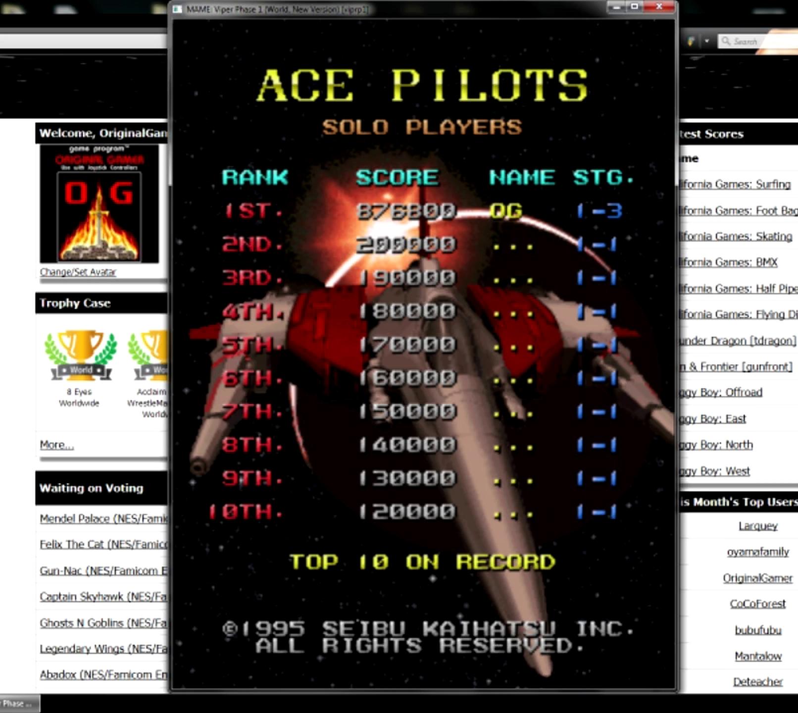 OriginalGamer: Viper Phase 1 New Version [viprp1] (Arcade Emulated / M.A.M.E.) 876,800 points on 2015-05-30 23:56:40