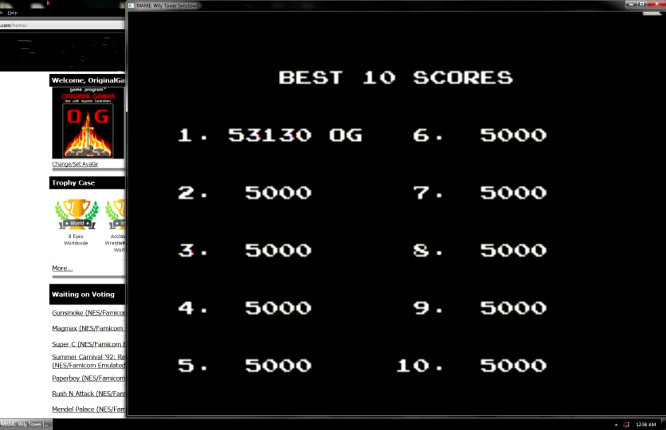 OriginalGamer: Wily Tower [wilytowr] (Arcade Emulated / M.A.M.E.) 53,130 points on 2015-05-30 23:57:30